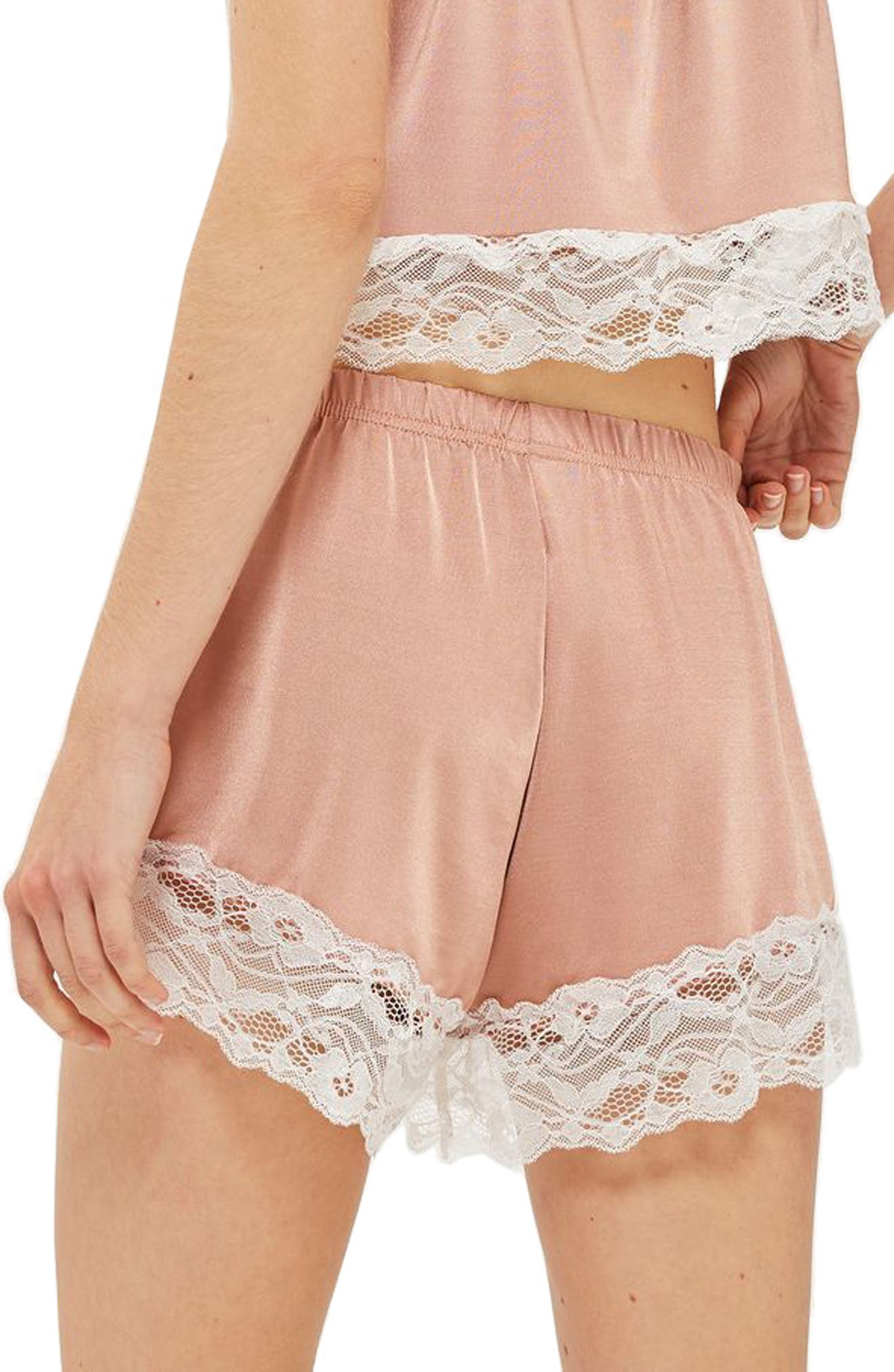 Satin & Lace Pajama Shorts,                             Alternate thumbnail 2, color,                             Nude