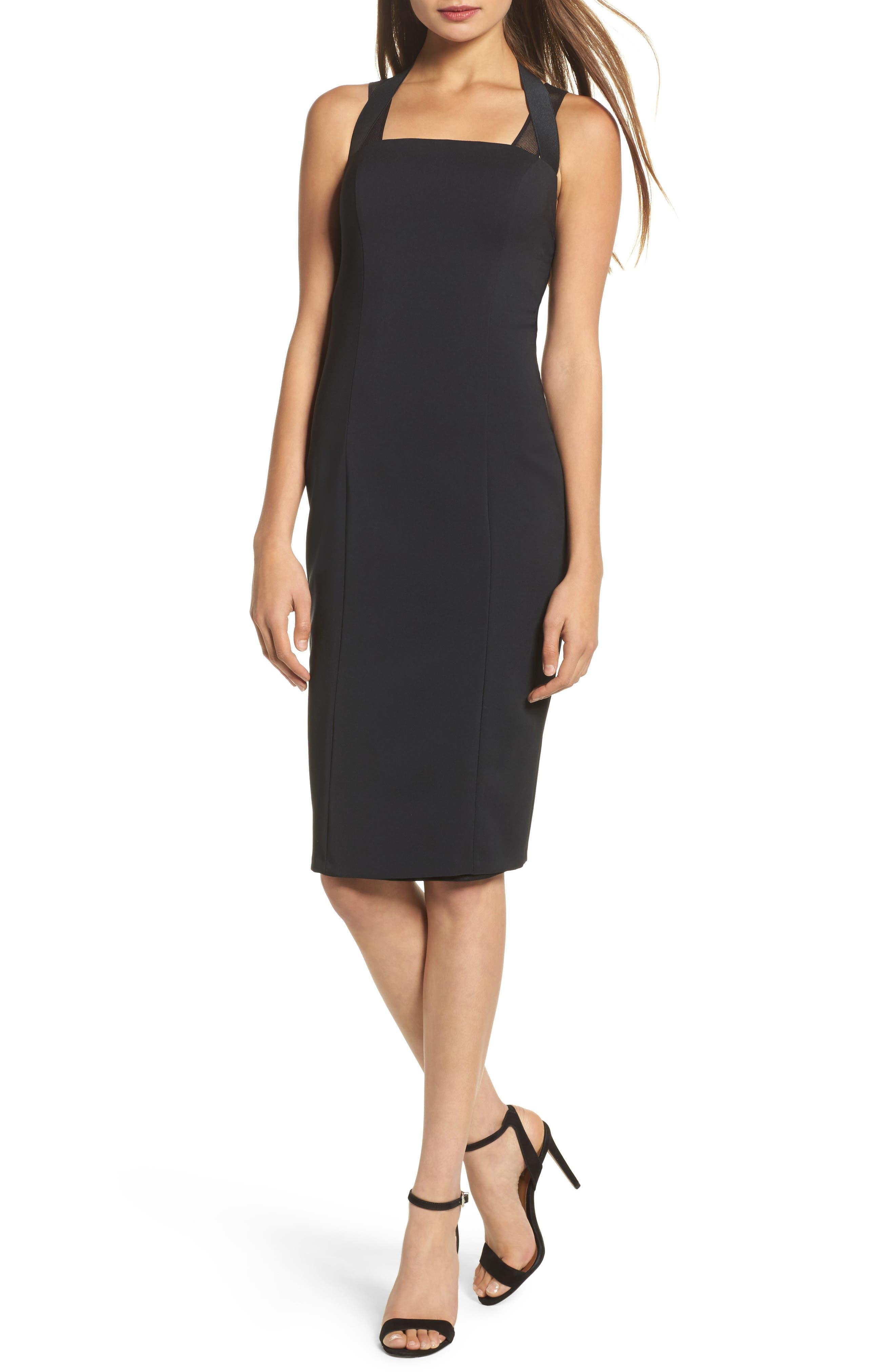 Kendra Elastic Strap Low Back Sheath Dress,                             Main thumbnail 1, color,                             Black