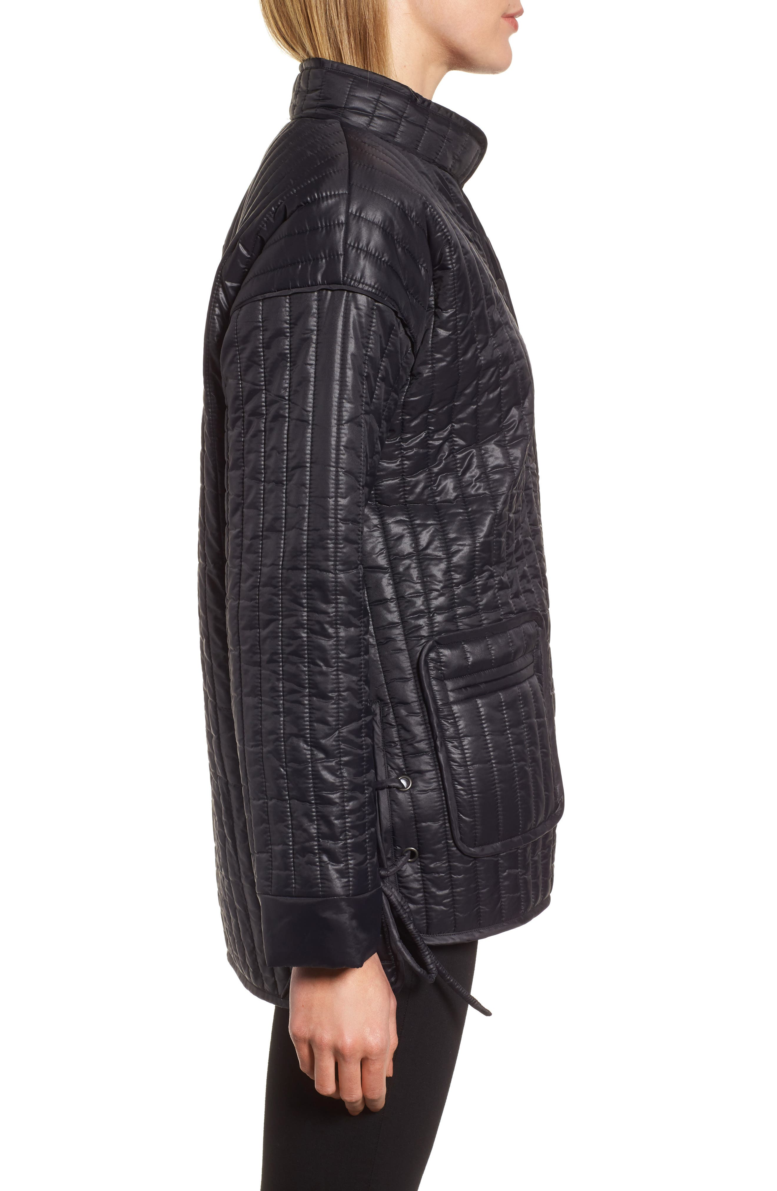 Side Tie Quilted Jacket,                             Alternate thumbnail 3, color,                             Black