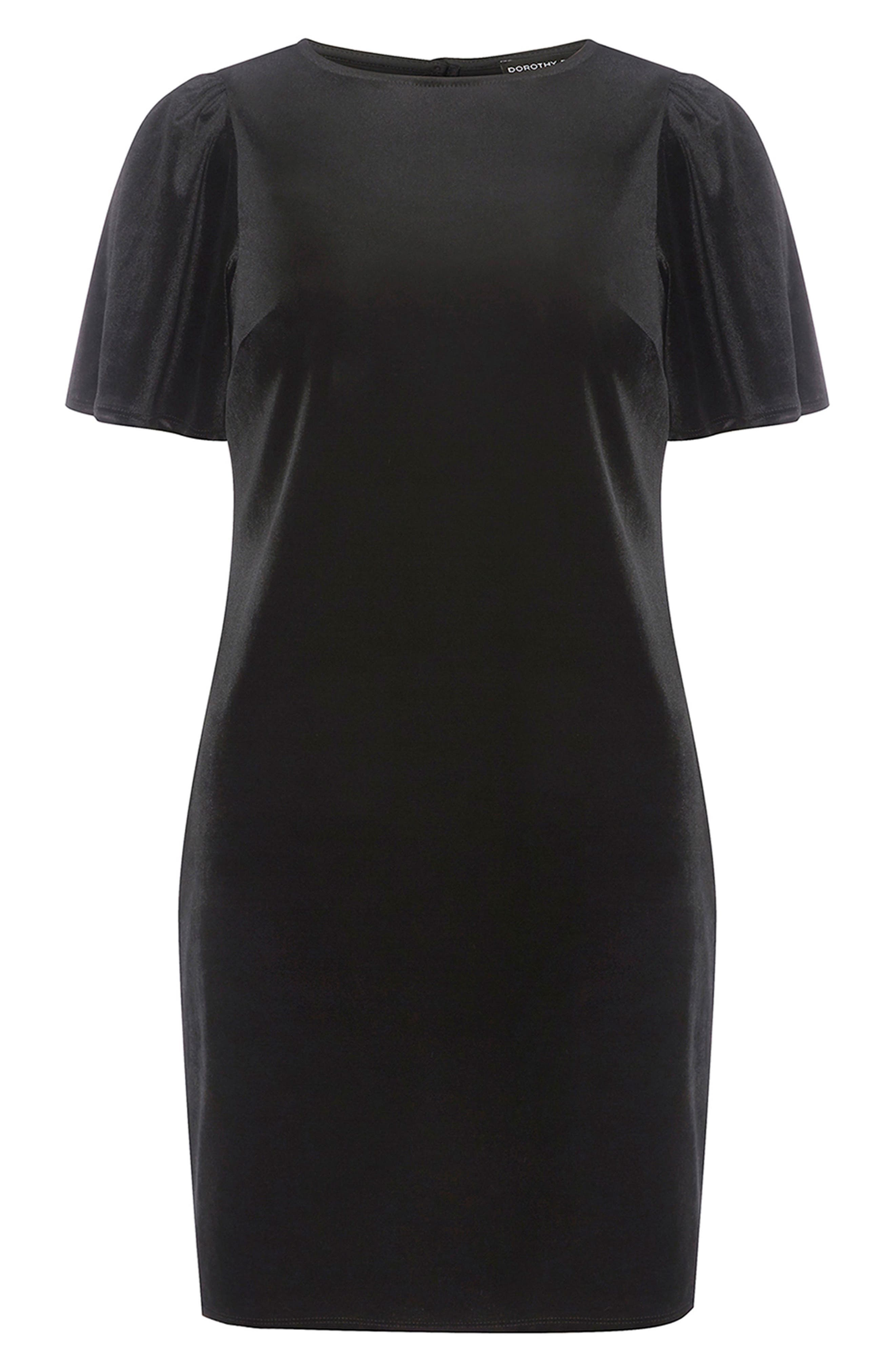 Velvet Shift Dress,                             Alternate thumbnail 5, color,                             Black