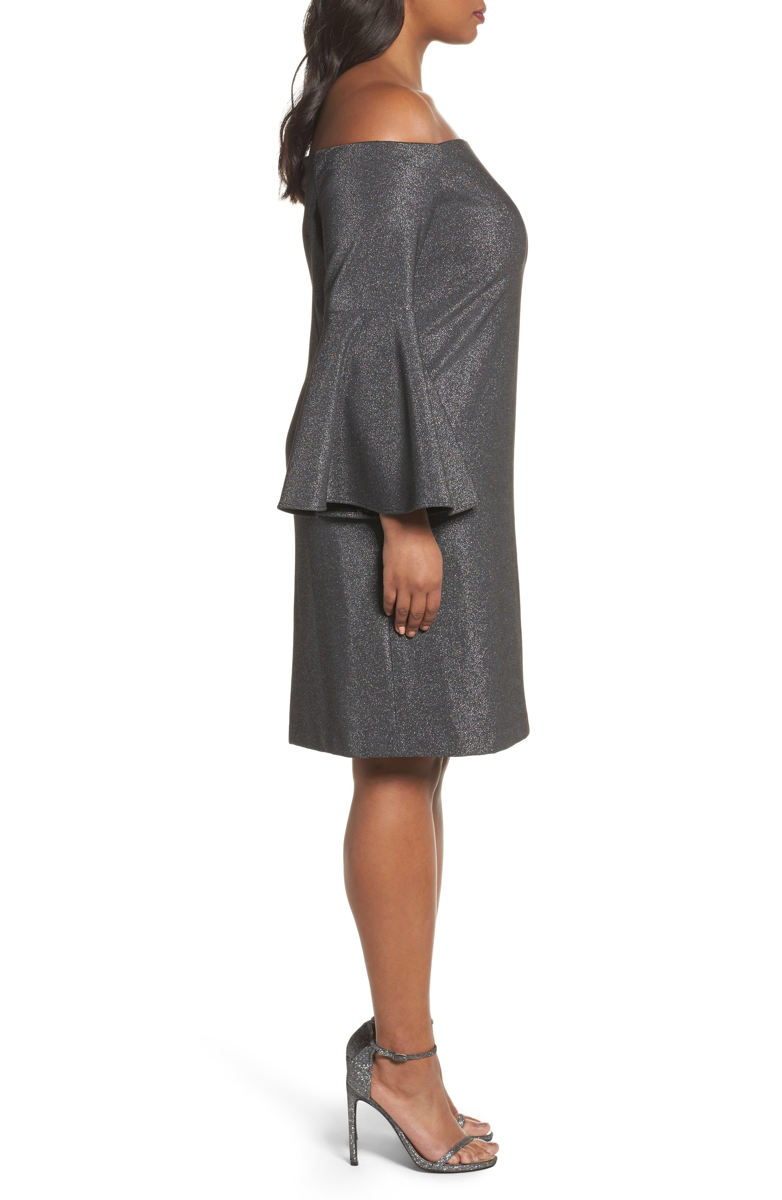 Off the Shoulder Metallic Sheath Dress,                             Alternate thumbnail 3, color,                             Rich Black