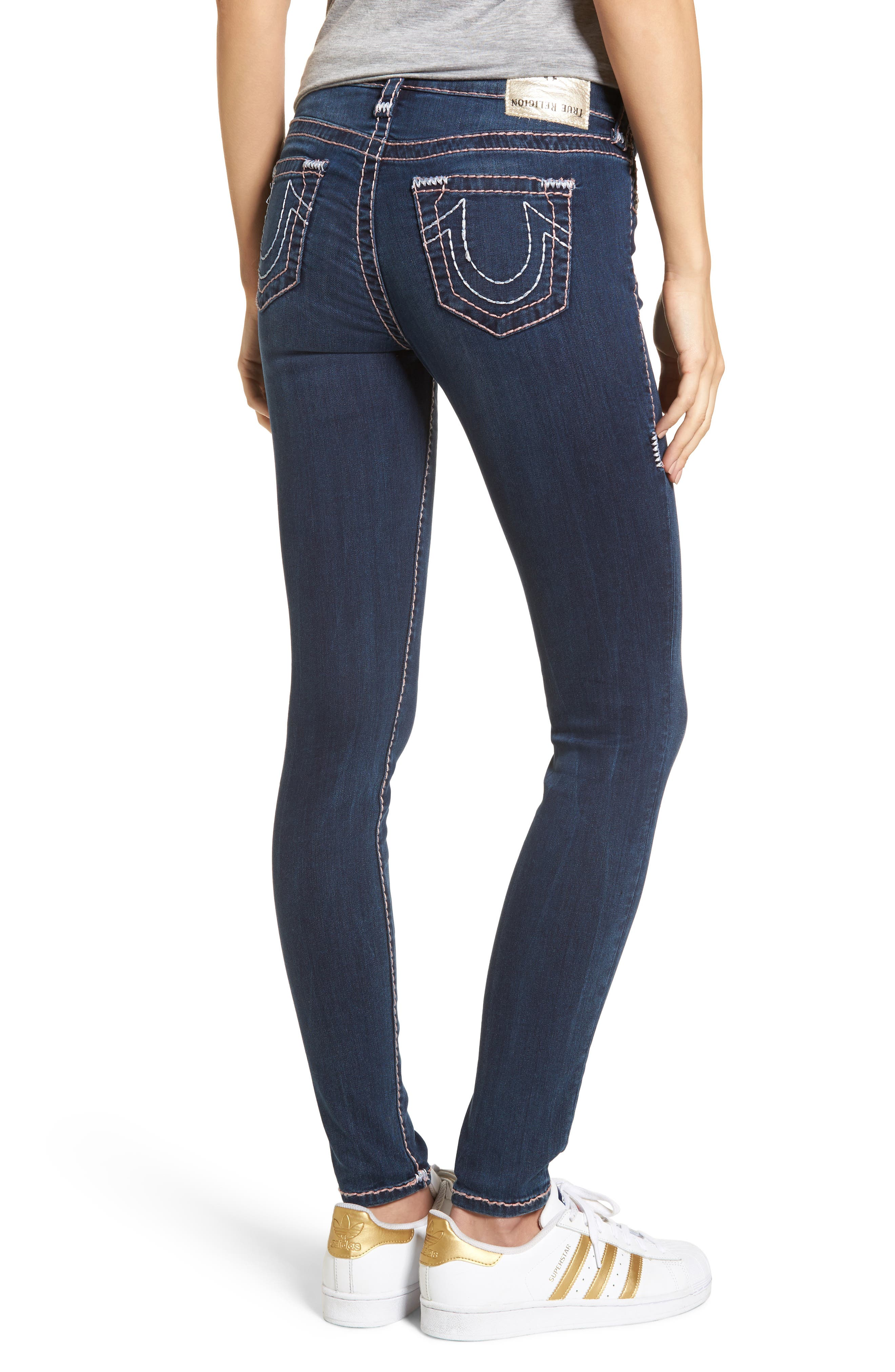 Halle Super Skinny Jeans,                             Alternate thumbnail 2, color,                             Deep Sea Blue