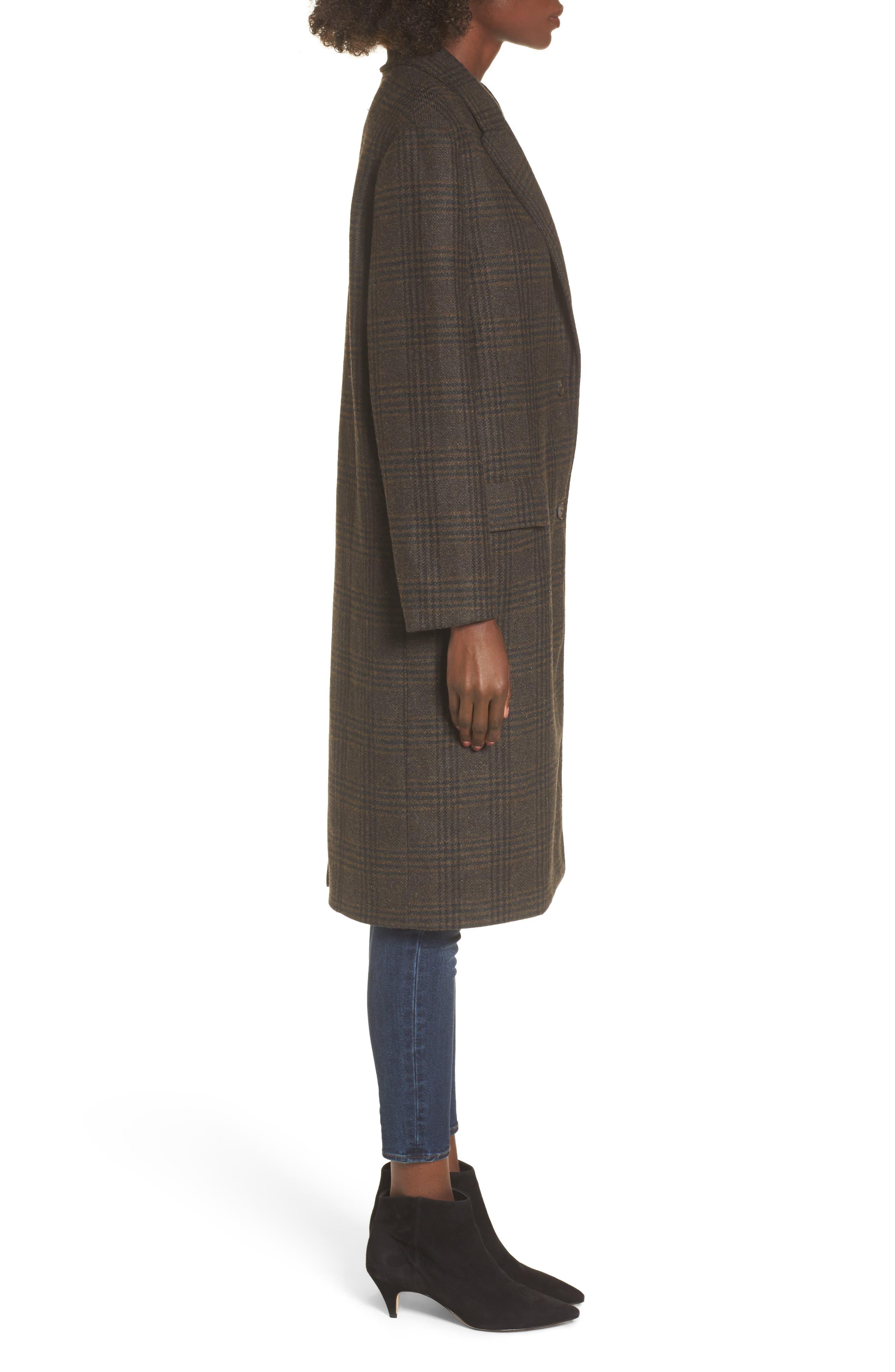 Menswear Coat,                             Alternate thumbnail 3, color,                             Brown Plaid