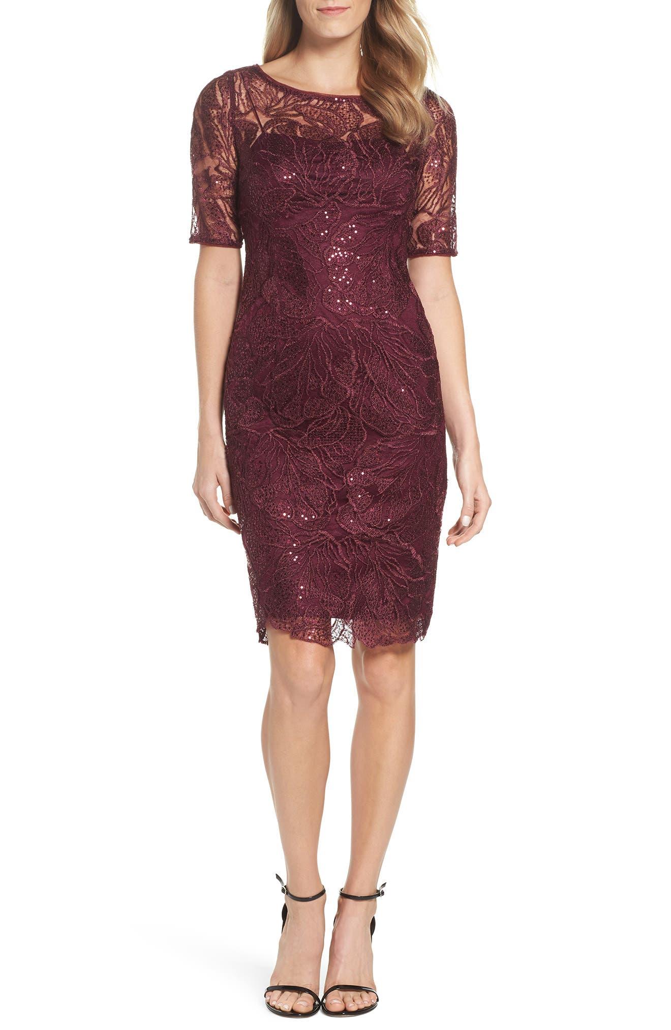 Sequin Embellished Sheath Dress,                         Main,                         color, Cabernet