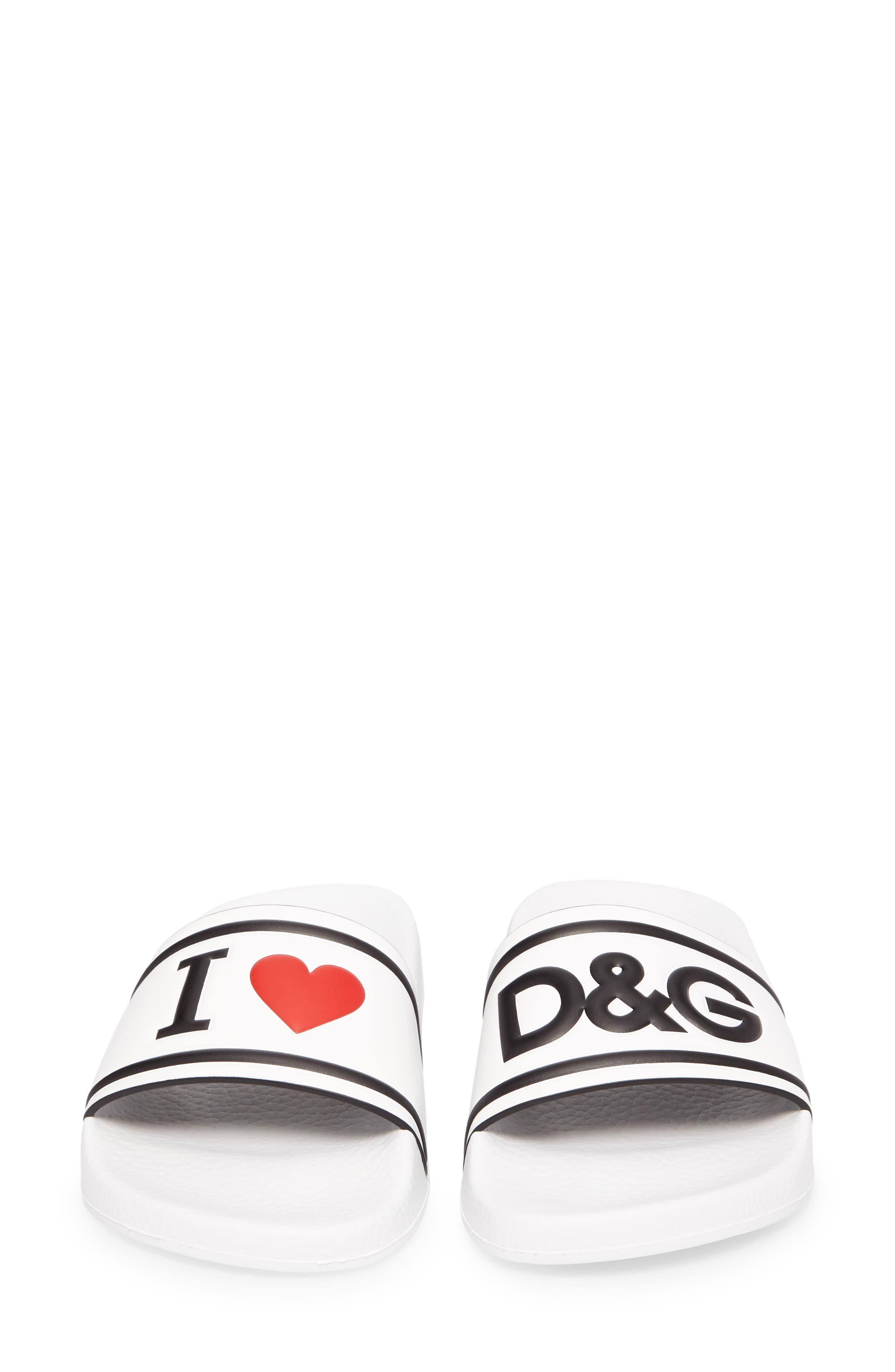 I Love DG Slide Sandal,                             Alternate thumbnail 5, color,                             White