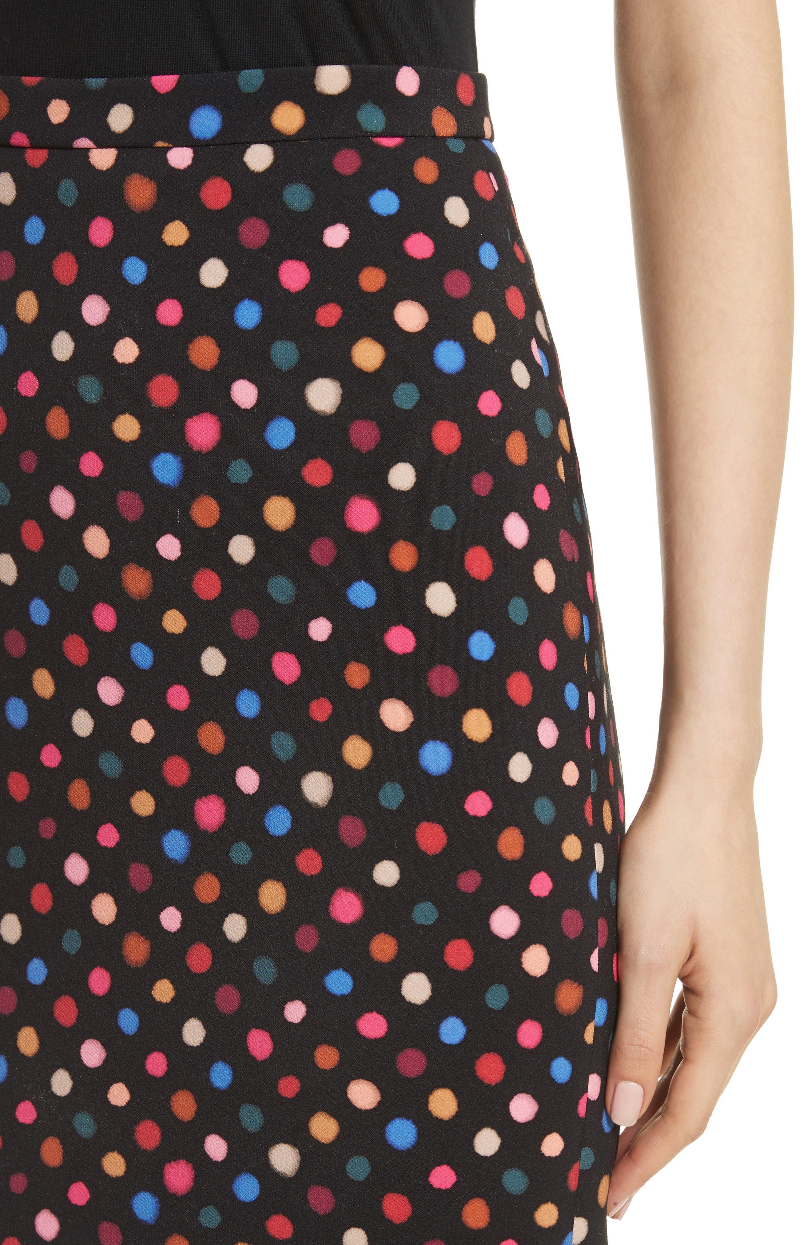 Portia Polka Dot Trumpet Skirt,                             Alternate thumbnail 4, color,                             Rainbow Polka