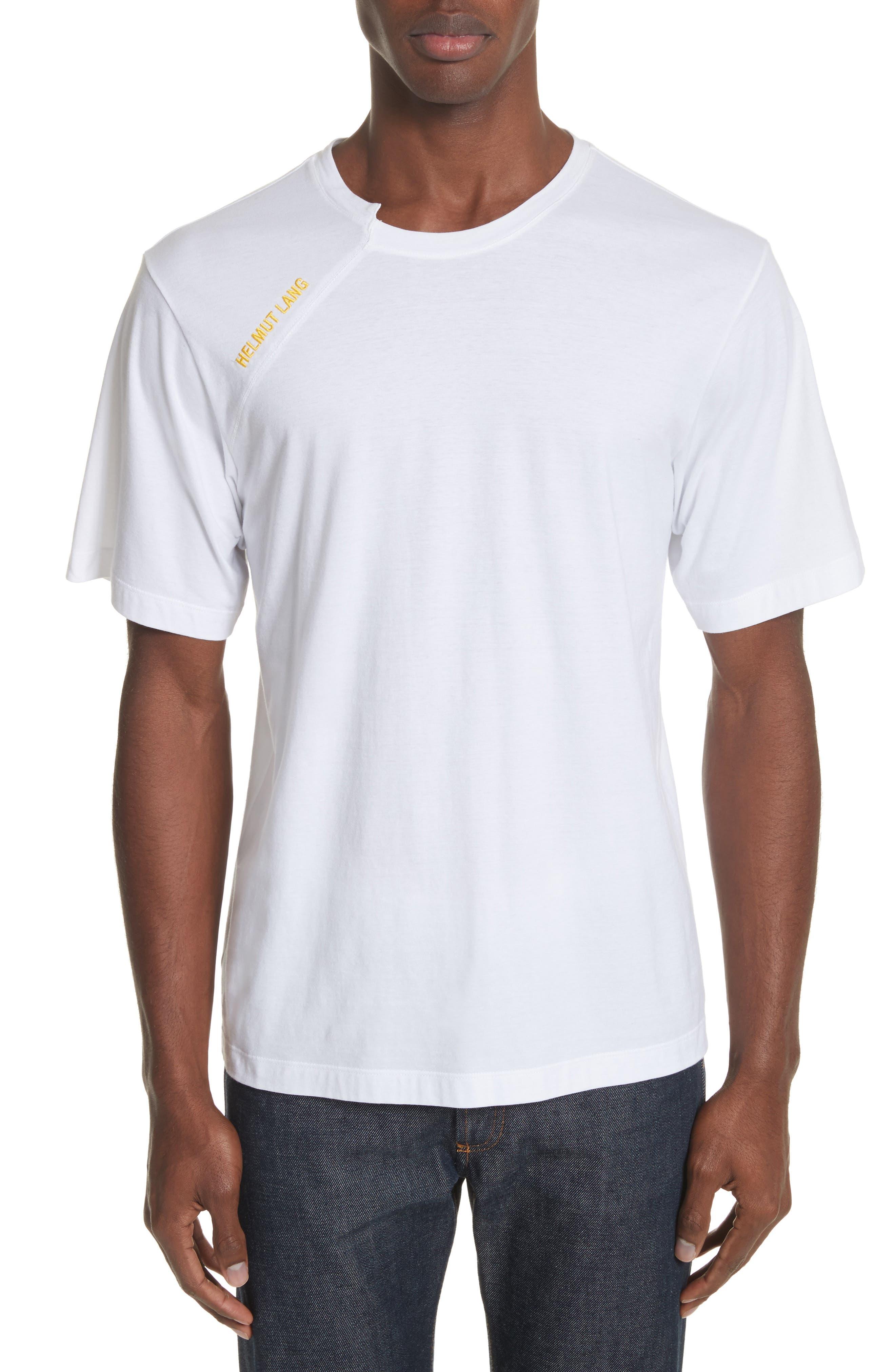 Cut Neck T-Shirt,                         Main,                         color, White