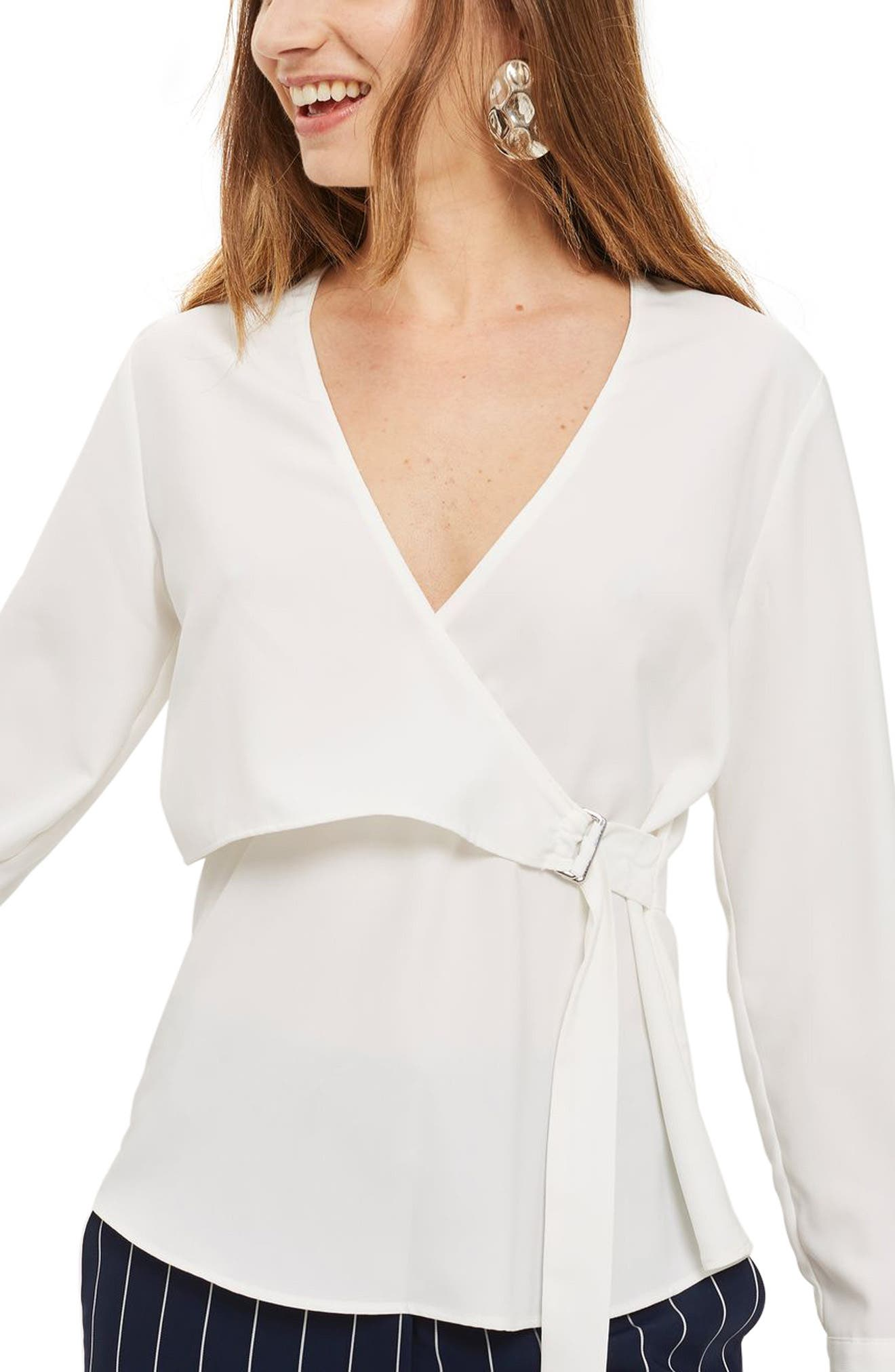 Topshop D-Ring Faux Wrap Blouse