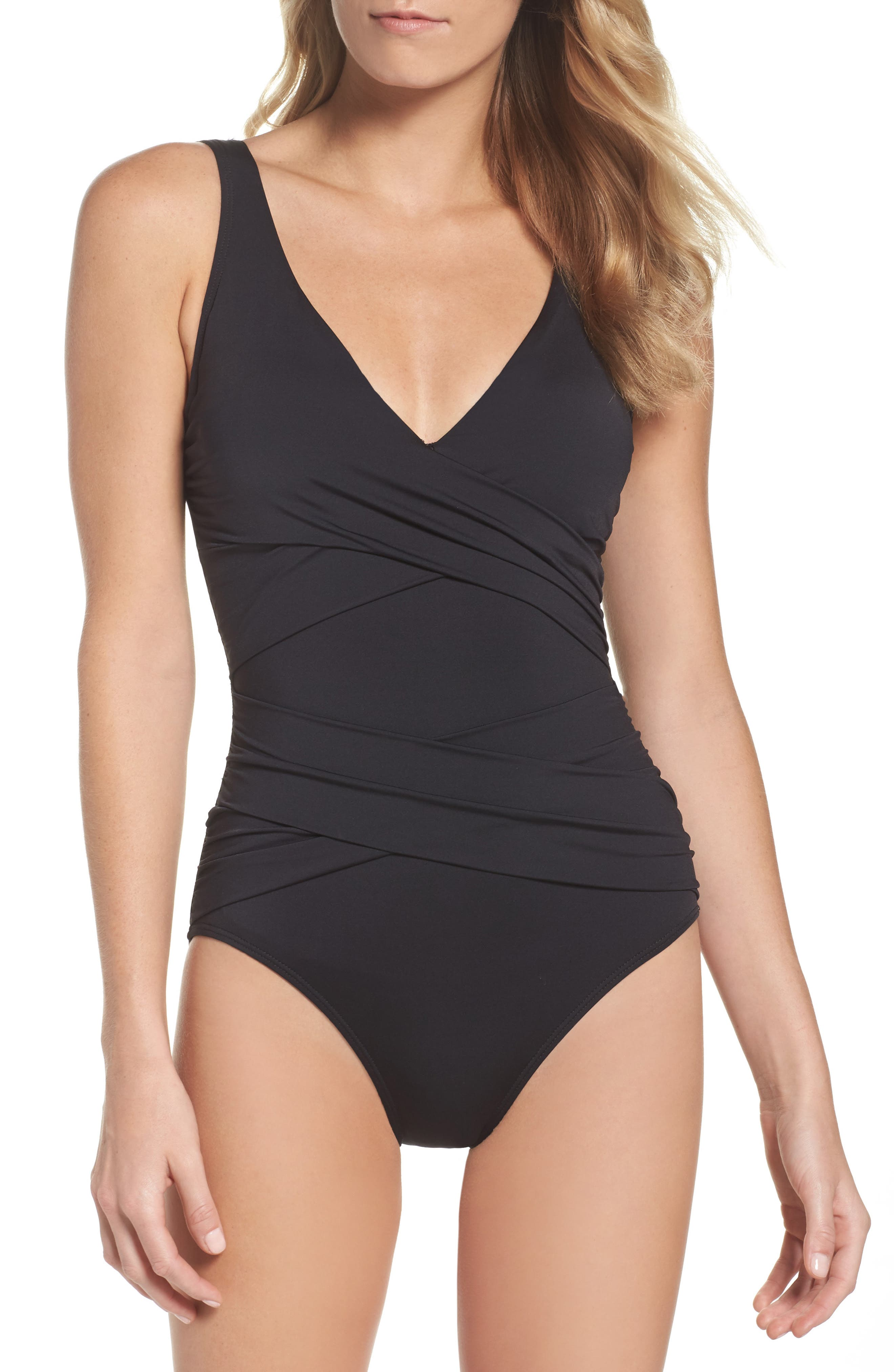 Pearl One-Piece Swimsuit,                         Main,                         color, Black