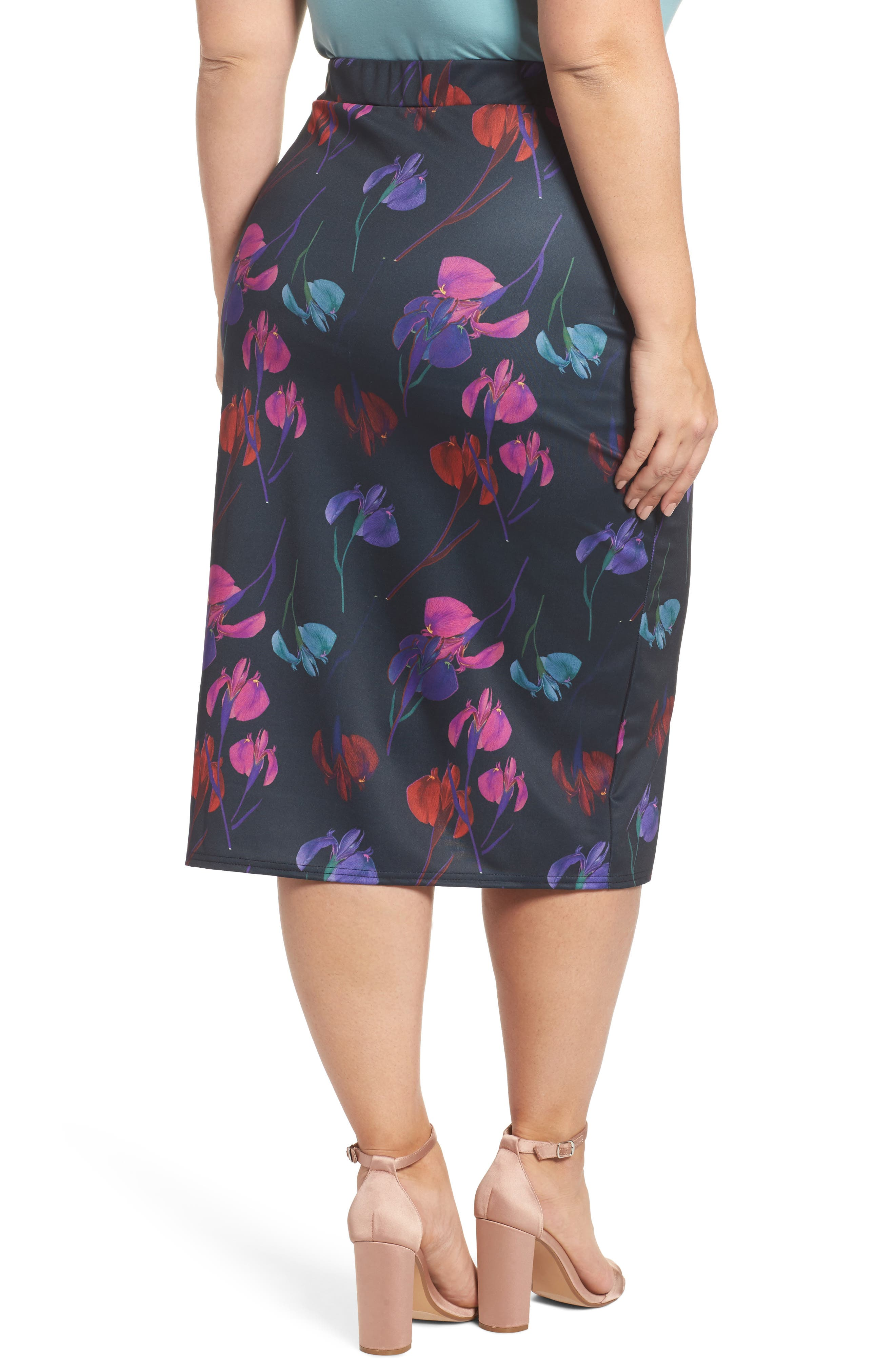 Alternate Image 2  - LOST INK Rainbow Orchid Pencil Skirt (Plus Size)