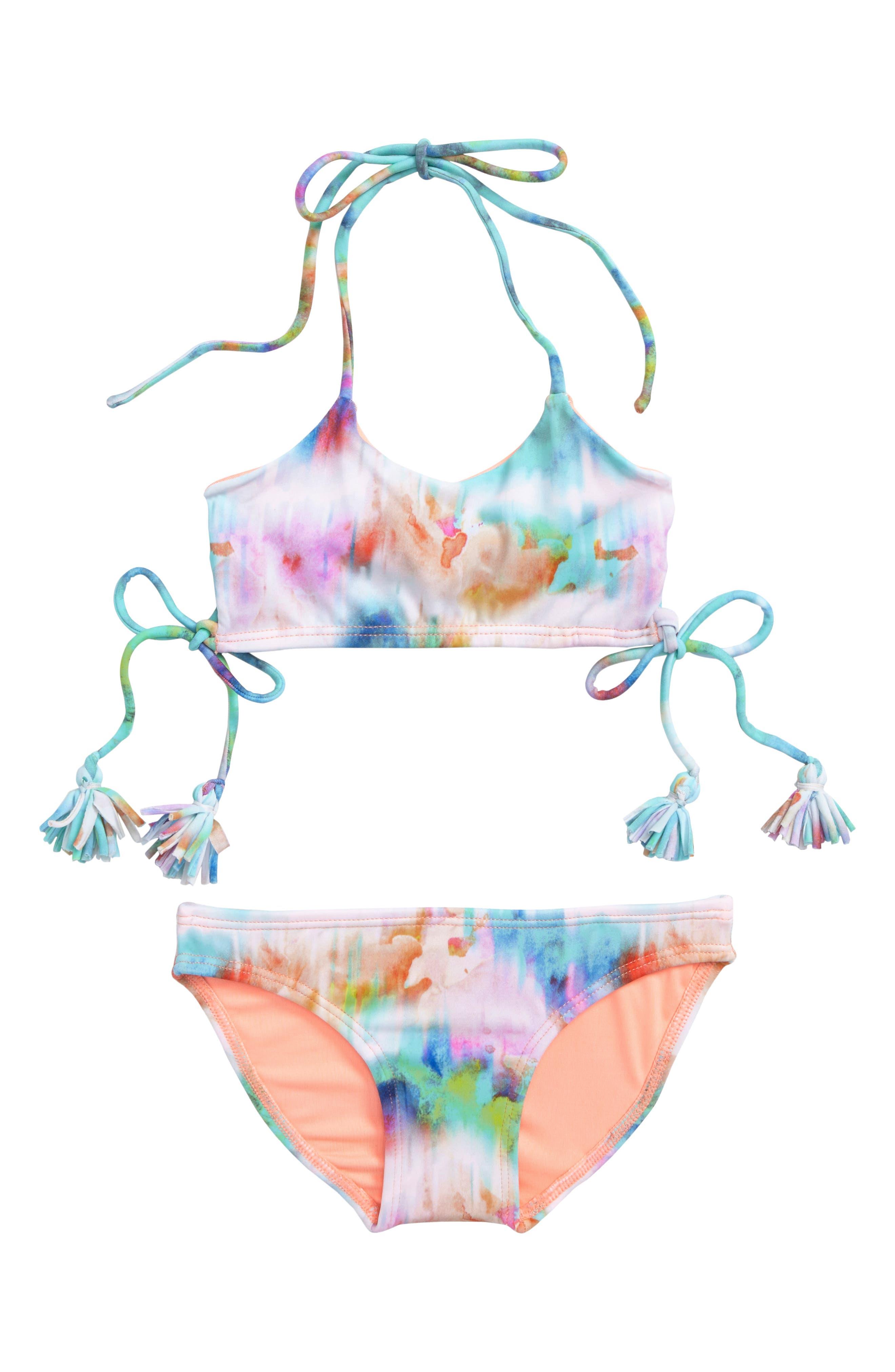 Oria Two-Piece Swimsuit,                         Main,                         color, Sunrise Tie-Dye