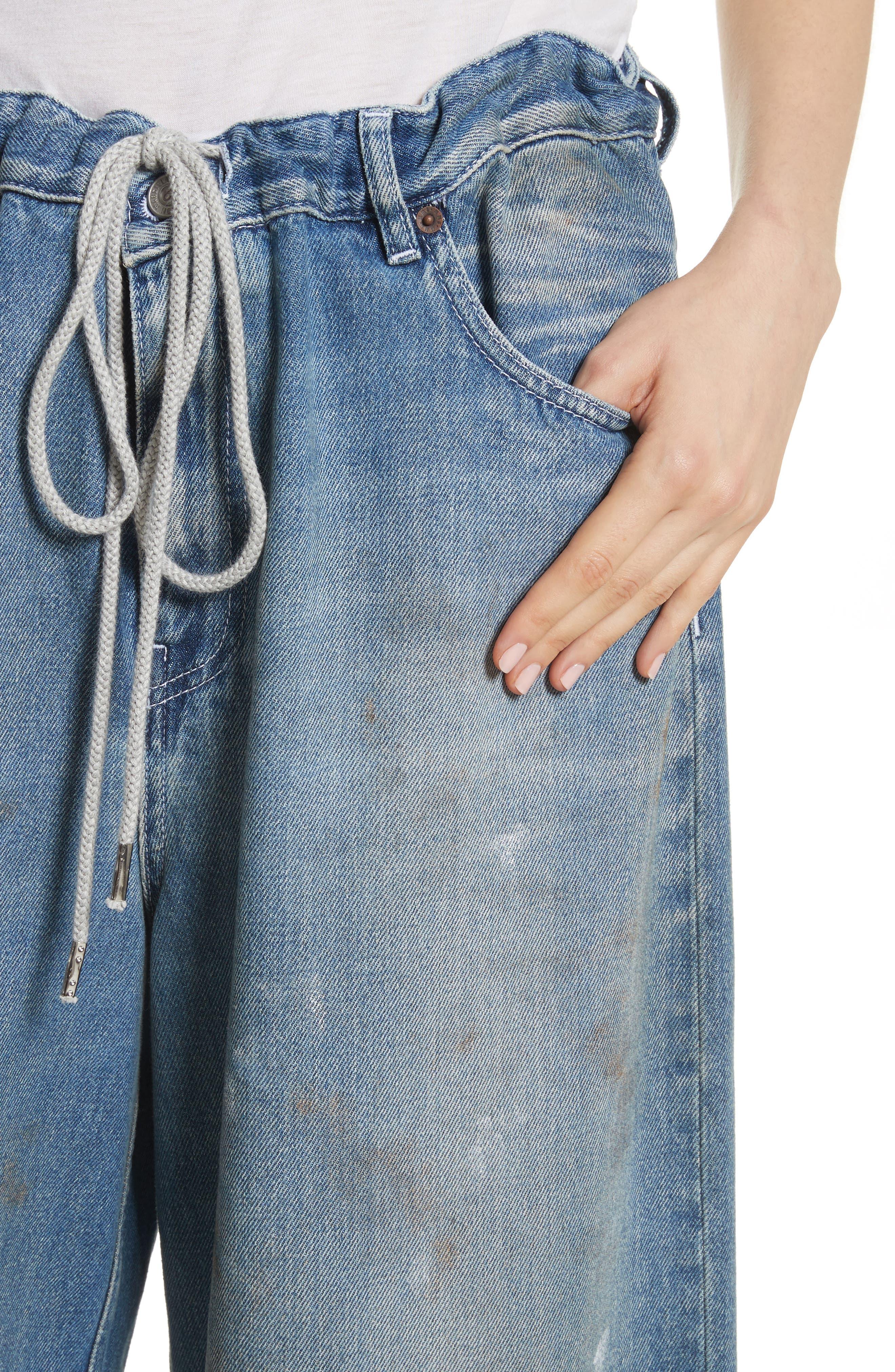 Drawstring Wide Leg Jeans,                             Alternate thumbnail 4, color,                             Indigo Stone Wash