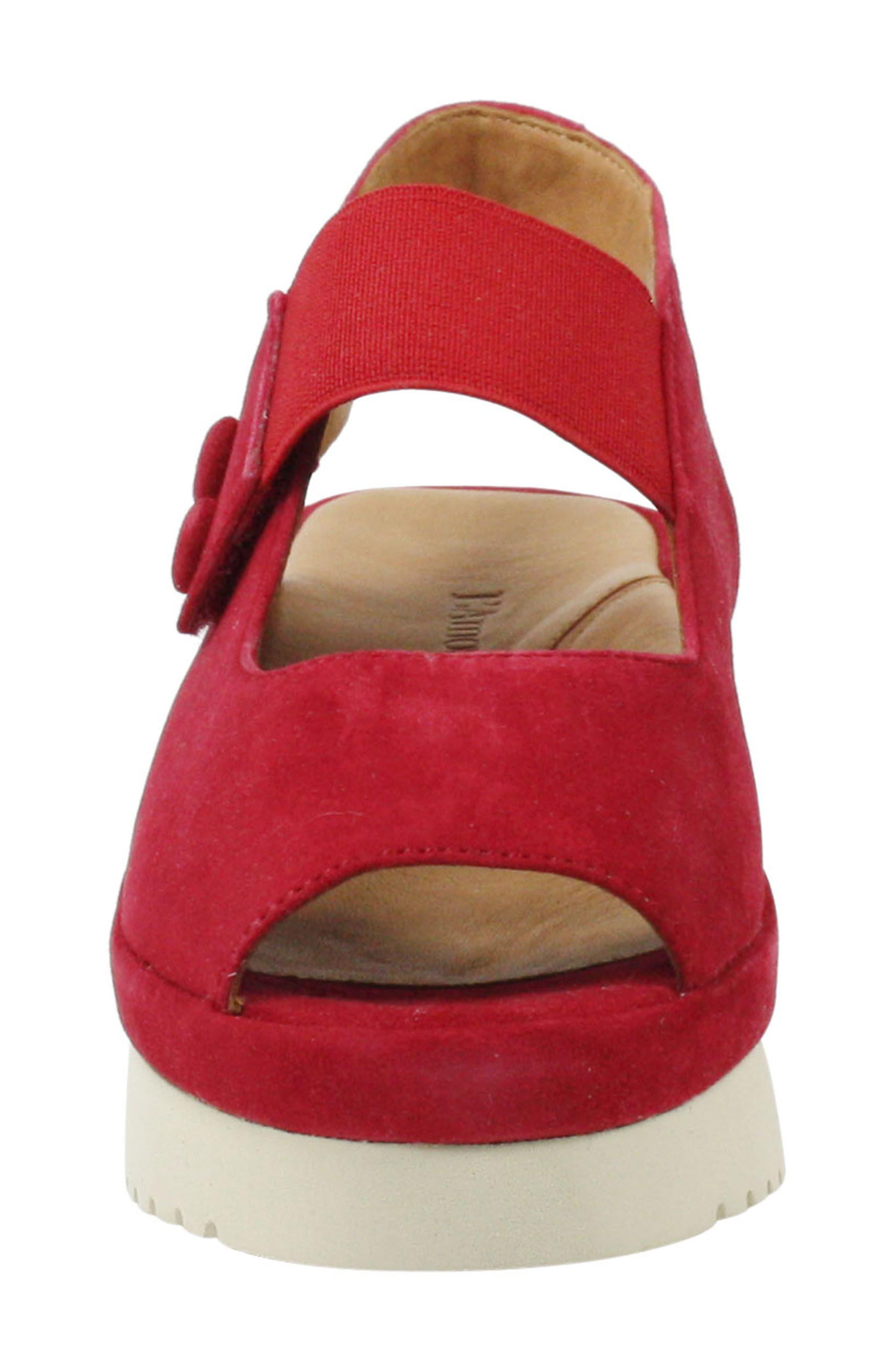Adalicia Platform Sandal,                             Alternate thumbnail 4, color,                             Bright Red Suede