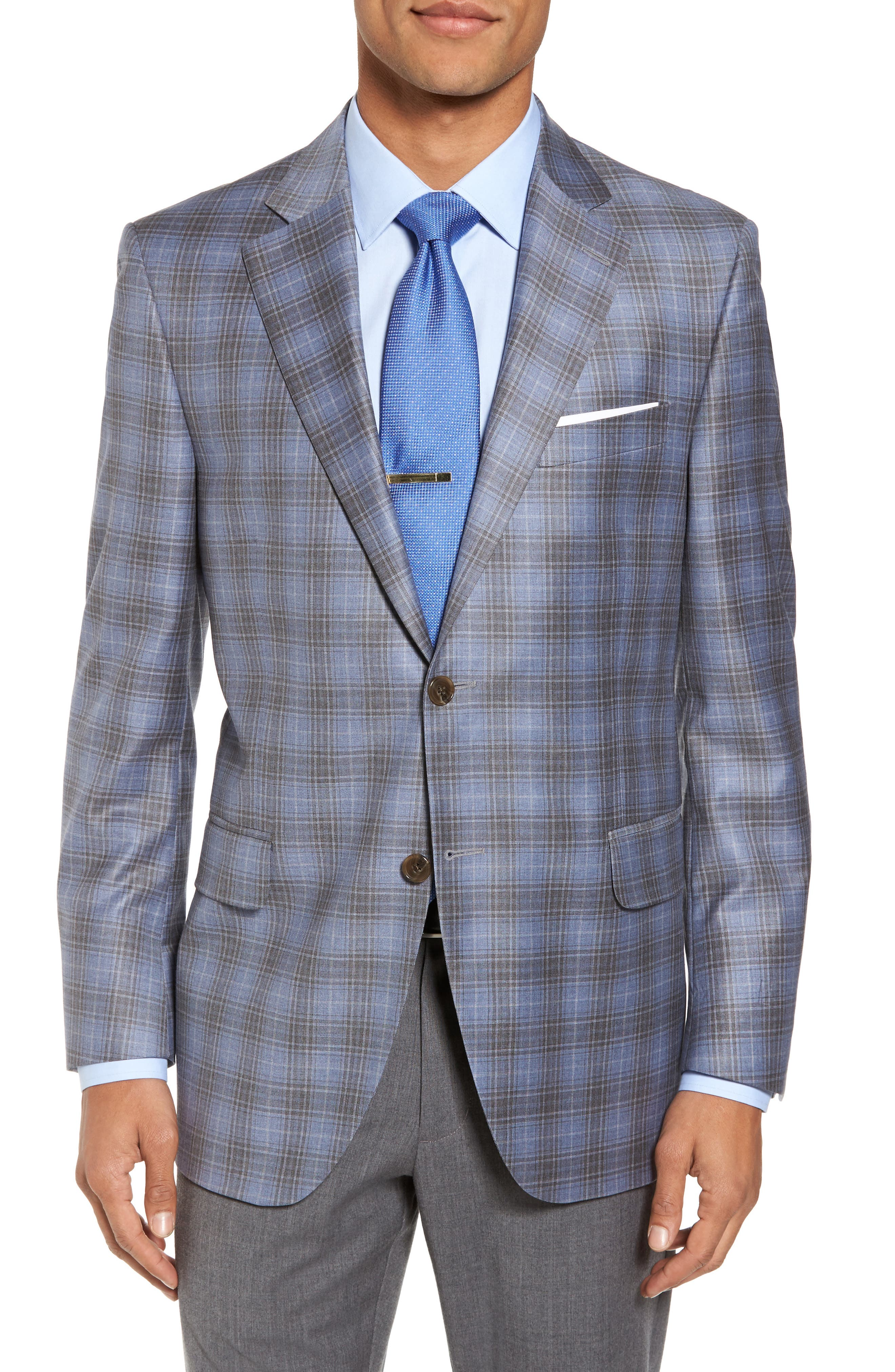 Classic Fit Plaid Wool Sport Coat,                         Main,                         color, Light Blue