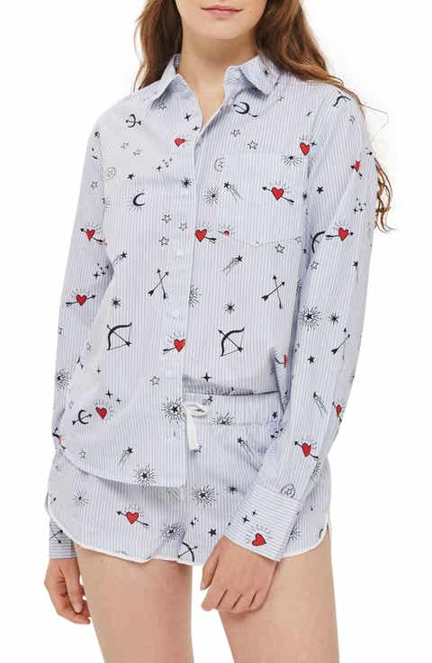 Topshop Heart Print Stripe Pajama Shirt Buy