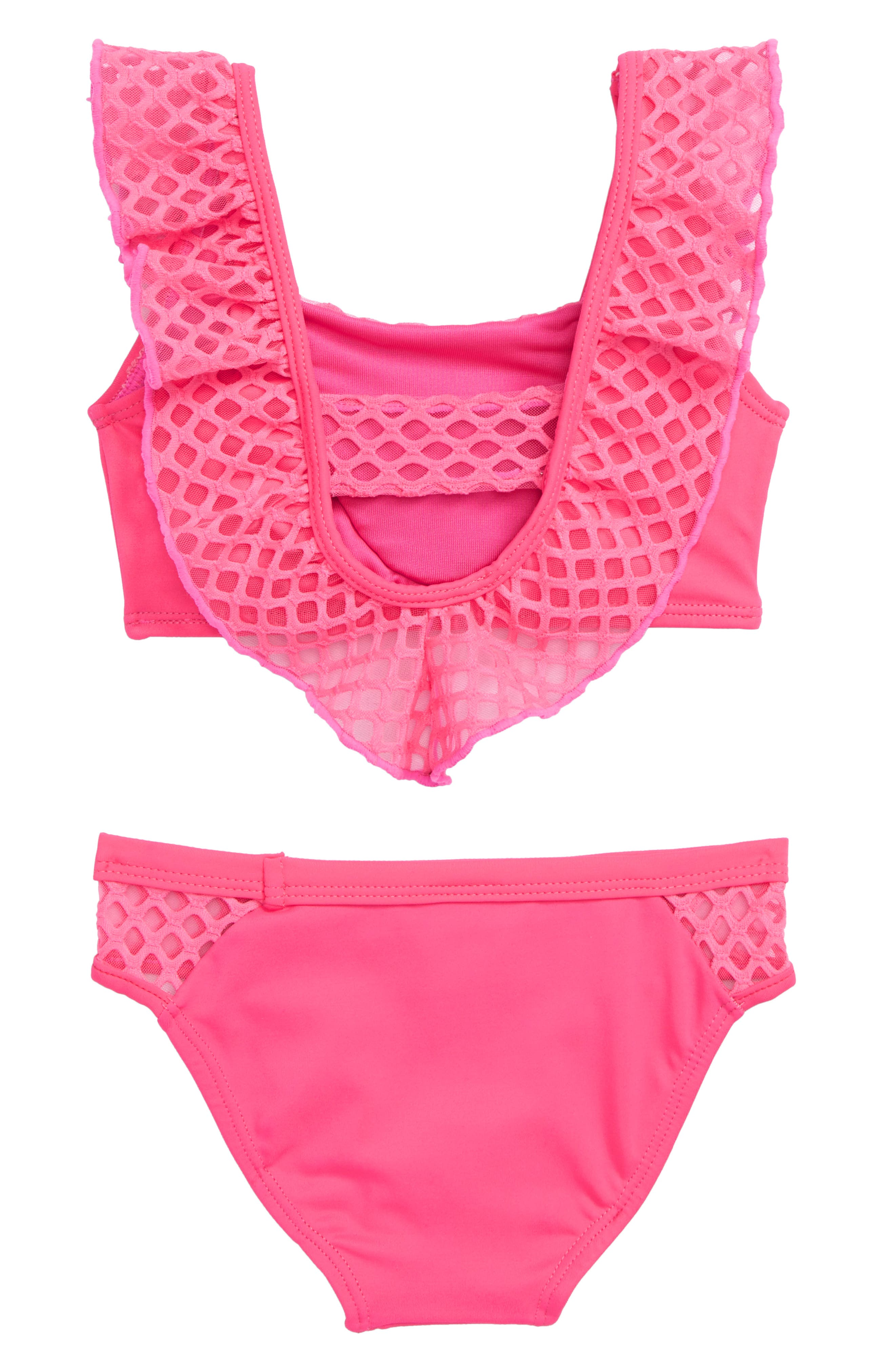 Blake Ruffle Two-Piece Swimsuit,                             Alternate thumbnail 2, color,                             Neon Pink