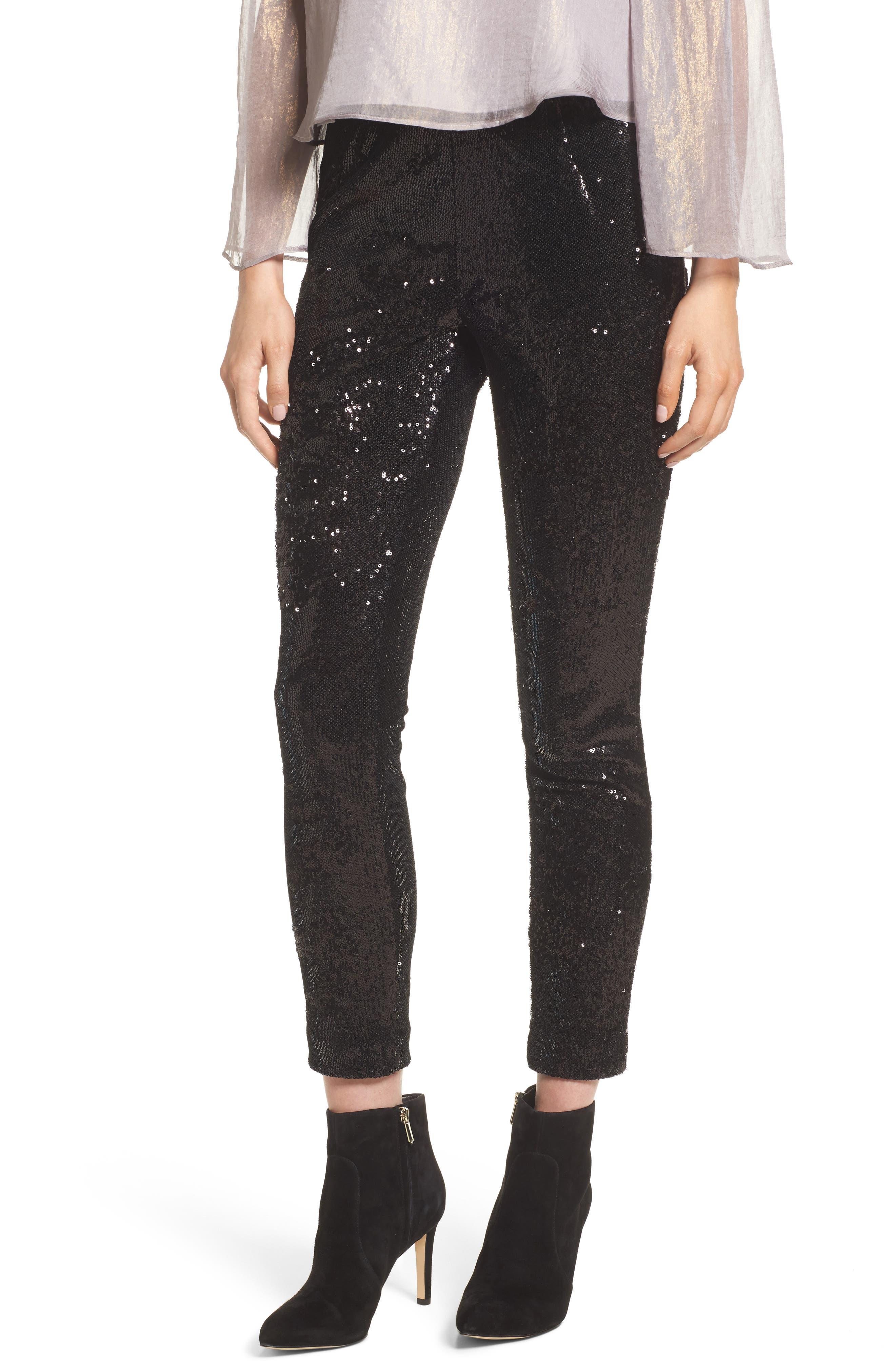 Glendora Sequin Crop Pants,                             Main thumbnail 1, color,                             Black