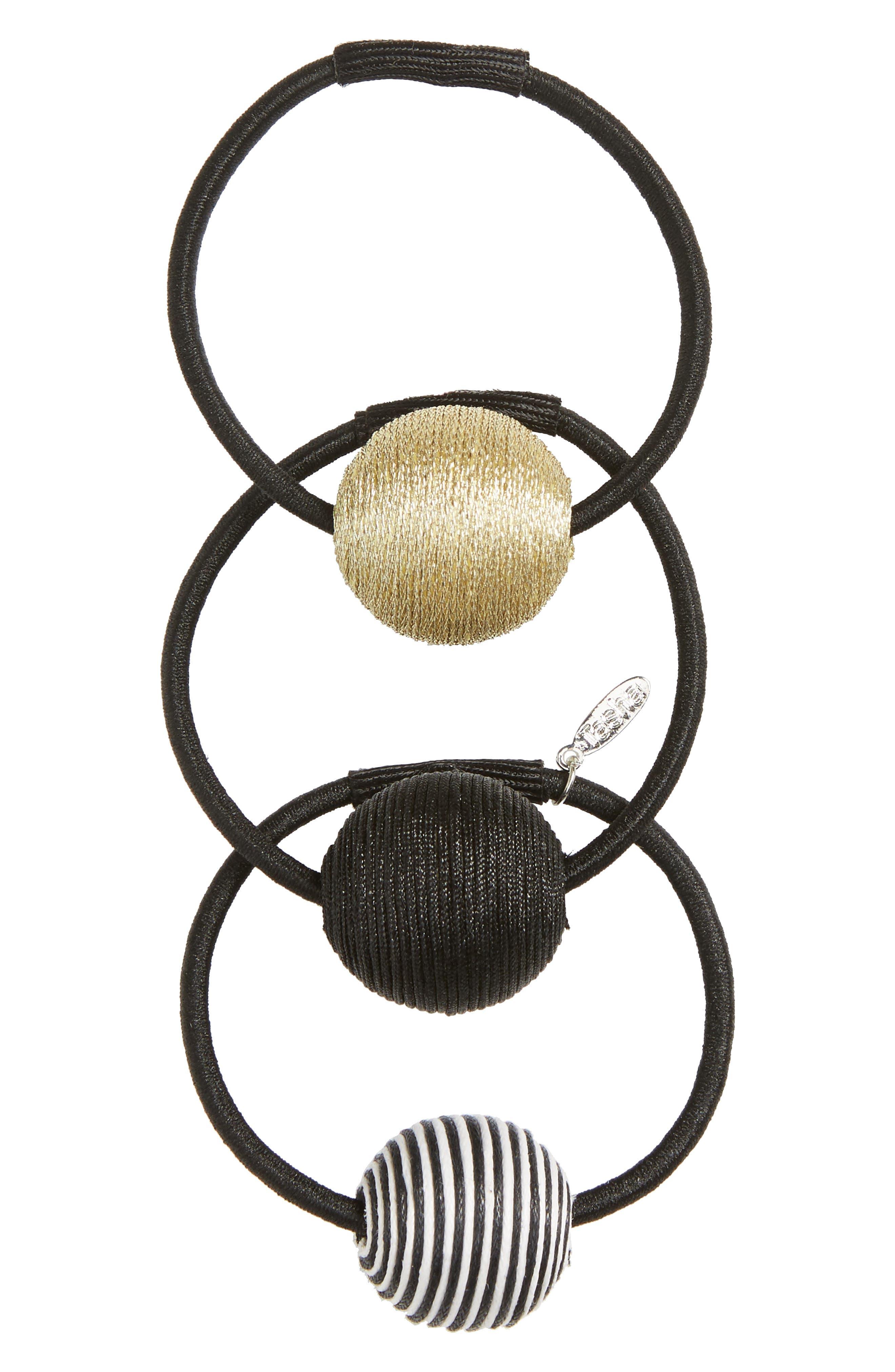 3-Pack Ball Charm Ponytail Holders,                         Main,                         color, Black Multi