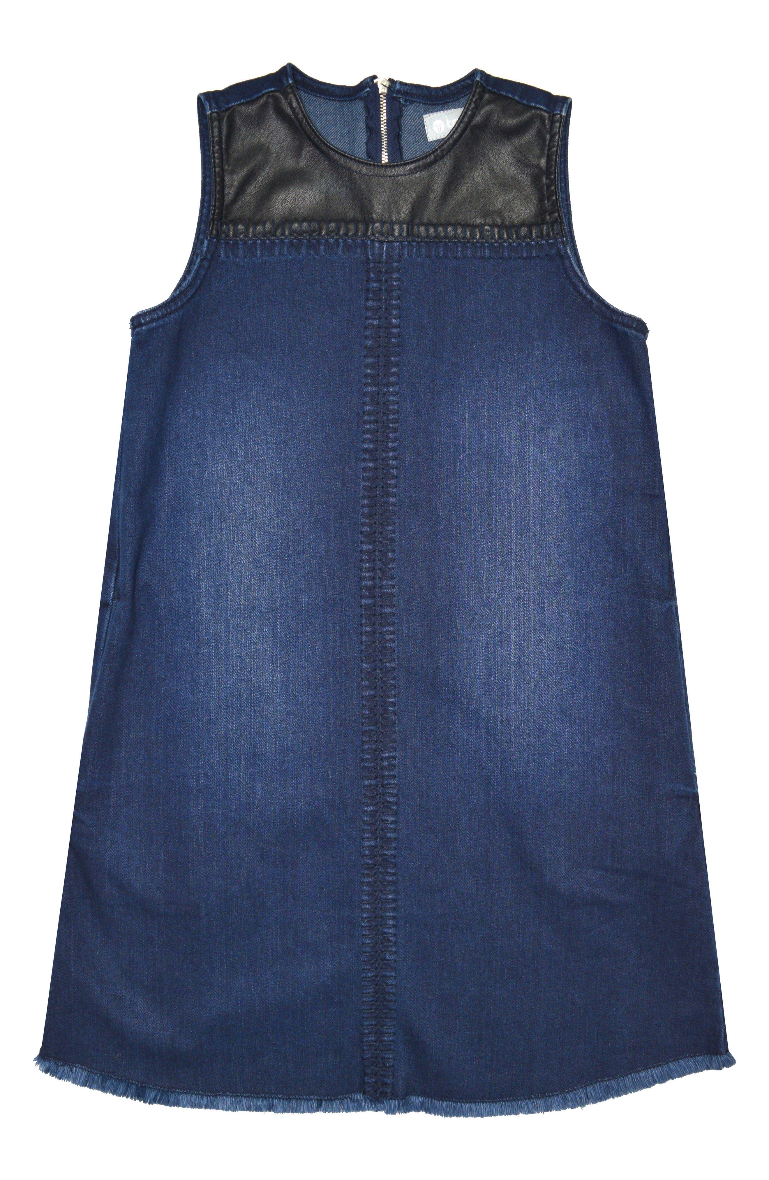 Tractr Faux Leather Yoke Denim Dress (Big Girls)