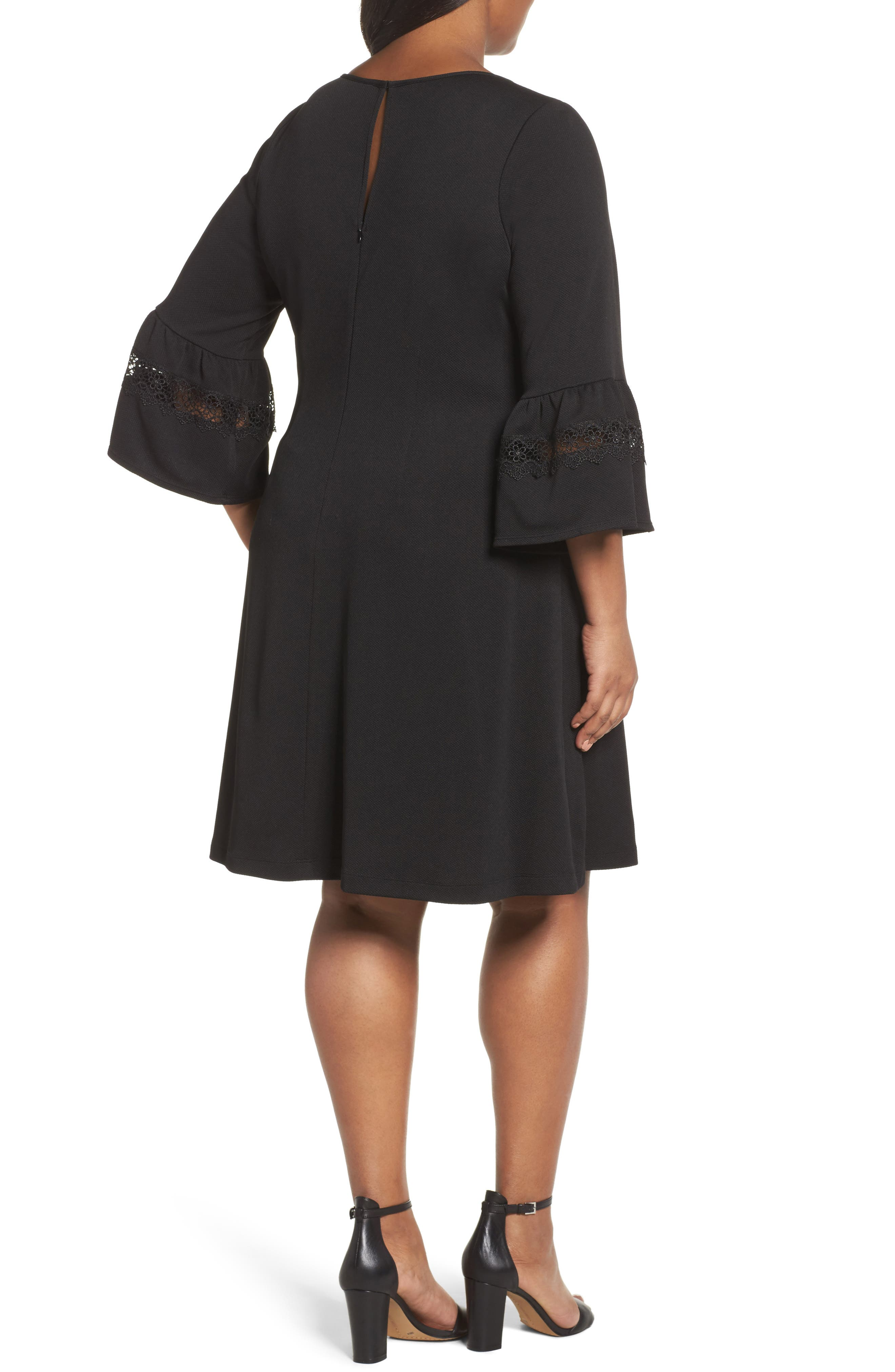 Alternate Image 2  - Gabby Skye Bell Sleeve Dress (Plus Size)