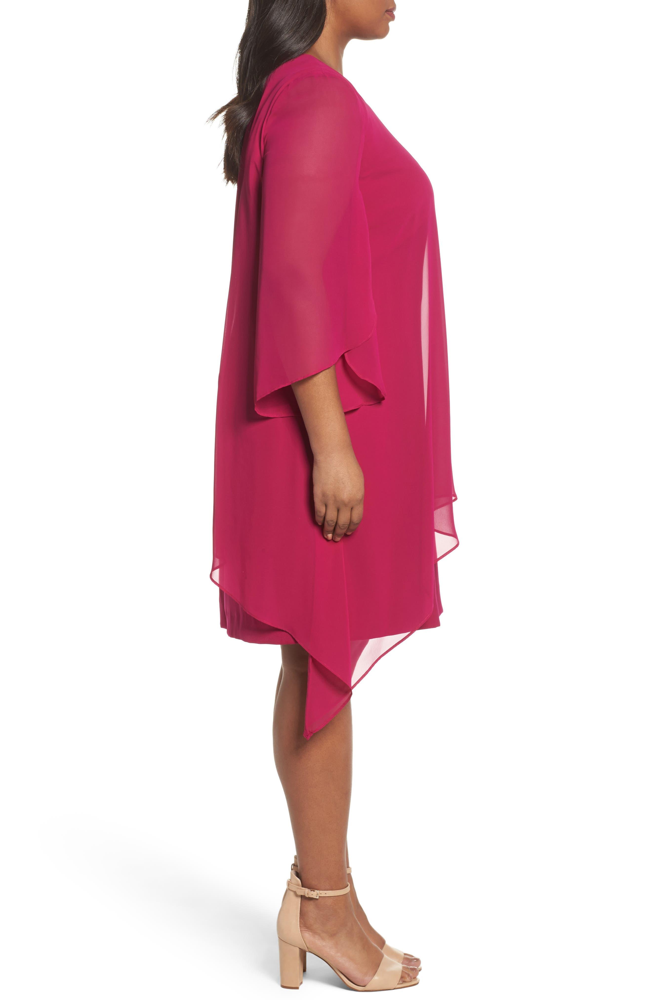 Chiffon Cape Sheath Dress,                             Alternate thumbnail 3, color,                             Magenta