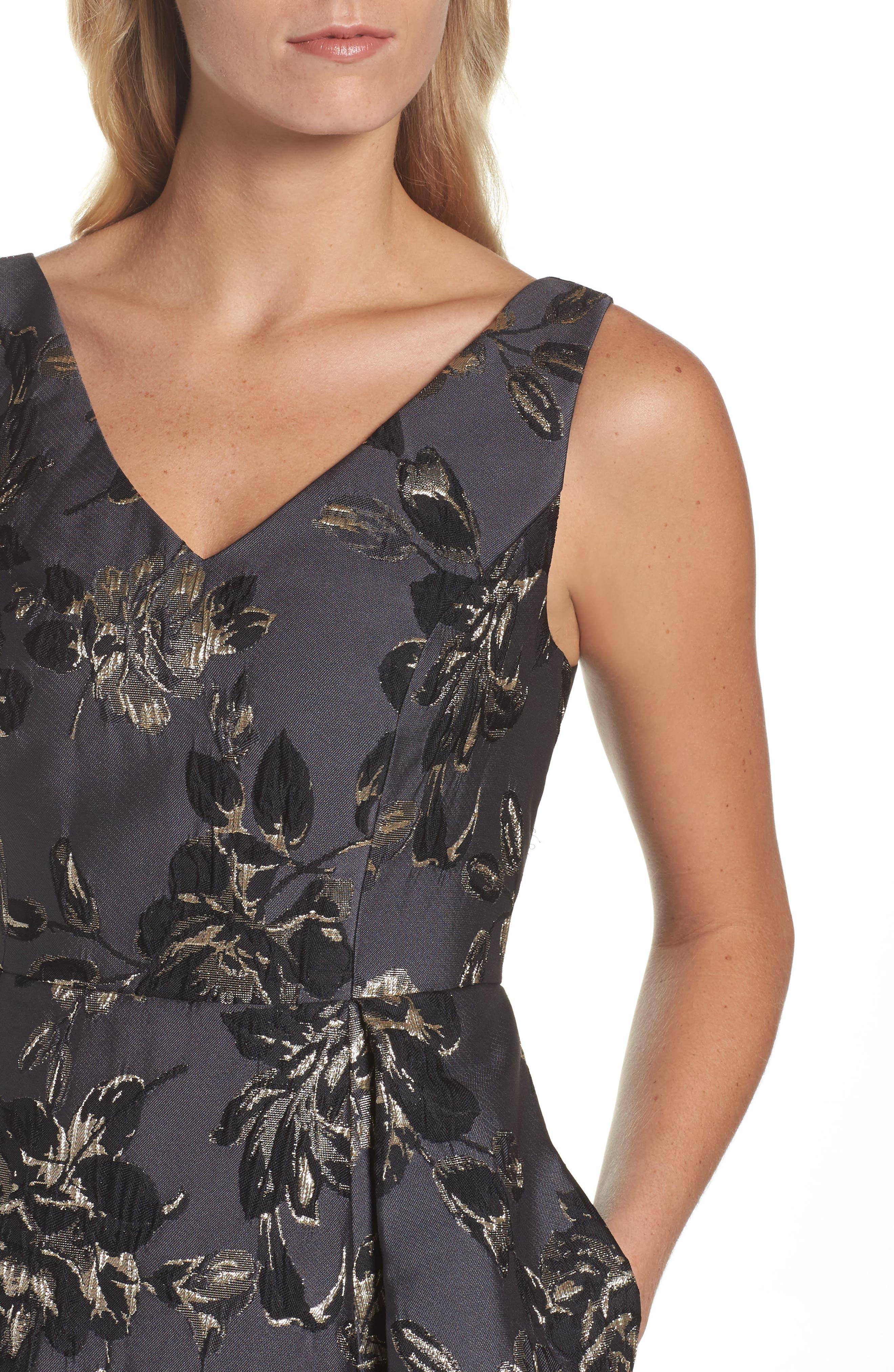 Jessa Fit & Flare Dress,                             Alternate thumbnail 4, color,                             Black Multi
