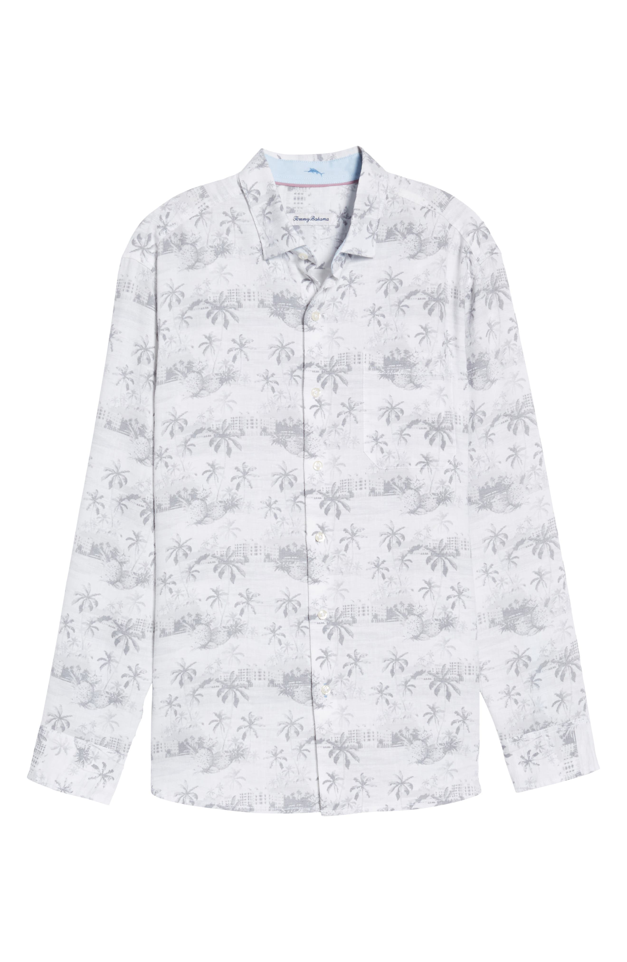 Tropical Toile Sport Shirt,                             Alternate thumbnail 6, color,                             Micro Chip
