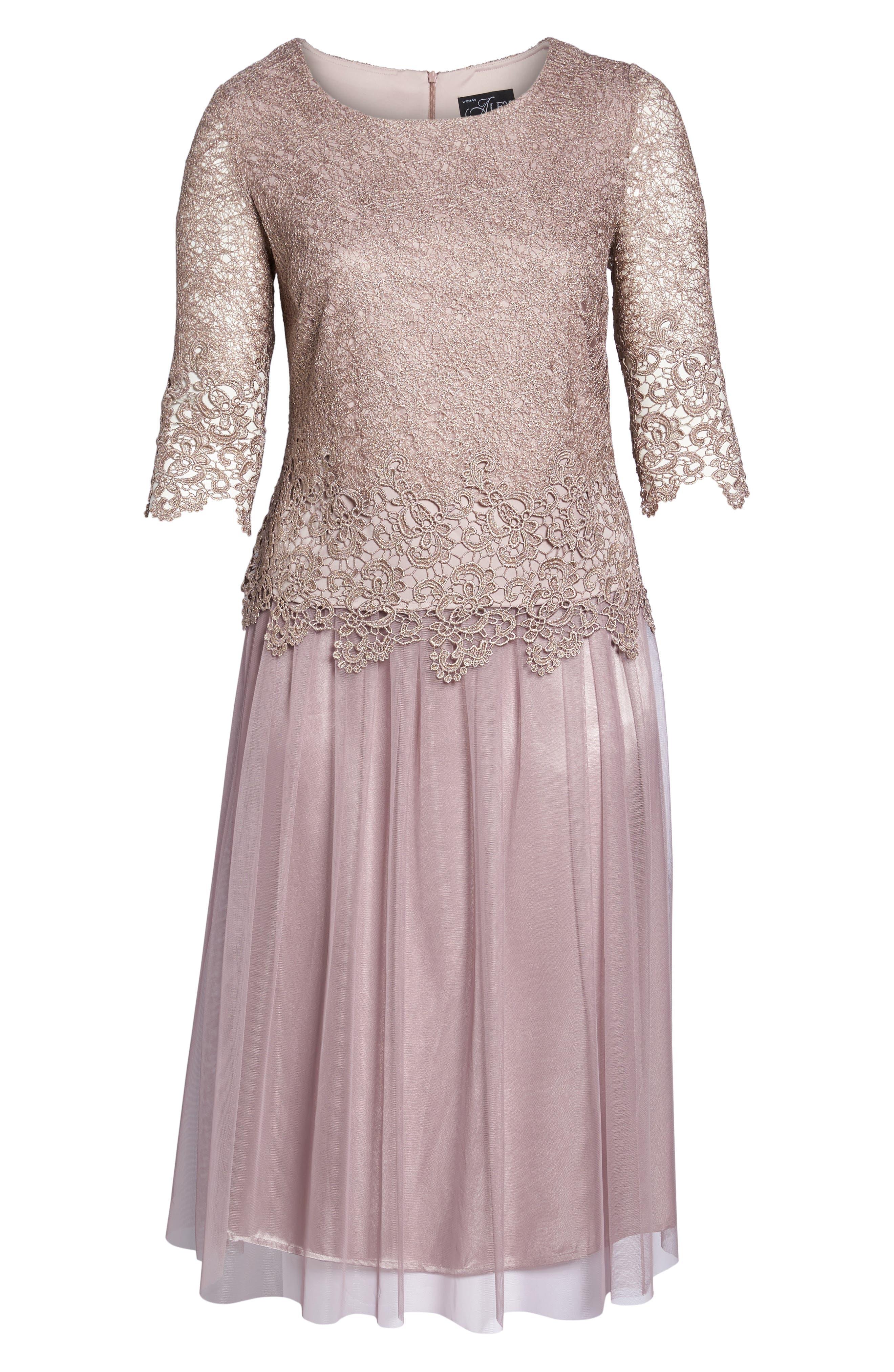 Embellished Mock Two-Piece Tea Length Dress,                             Alternate thumbnail 6, color,                             Rose