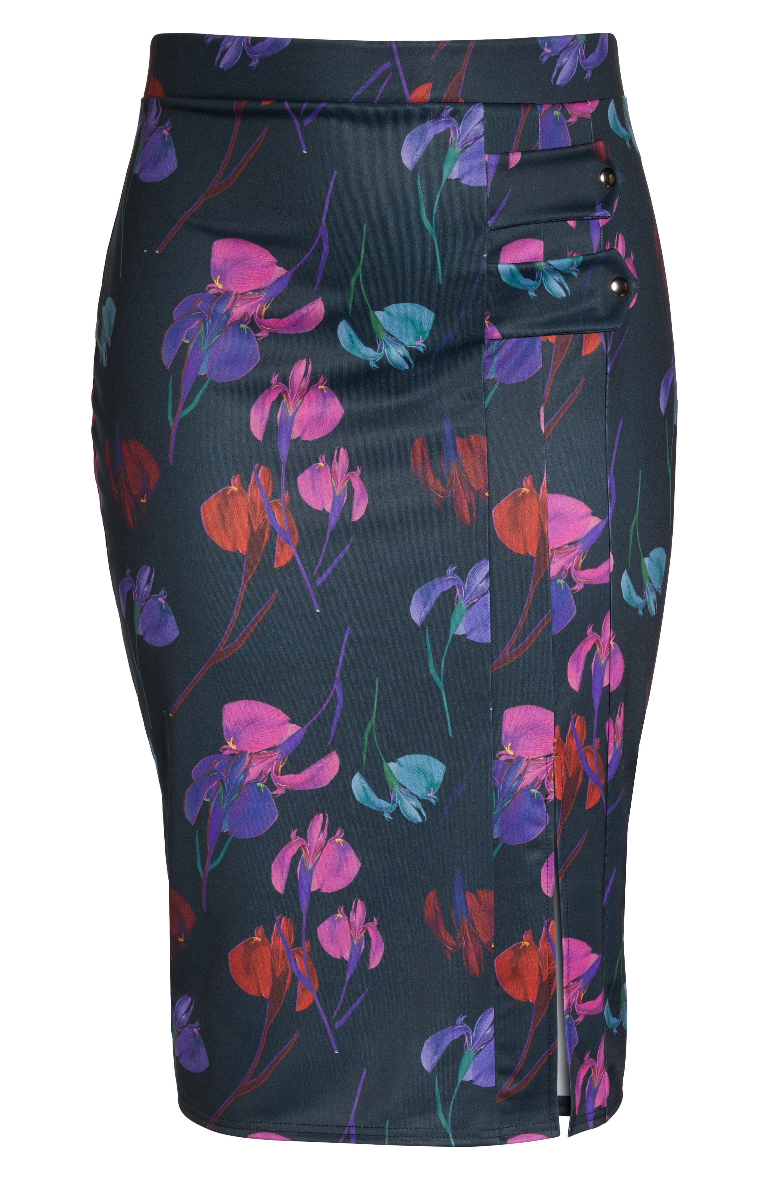 Alternate Image 6  - LOST INK Rainbow Orchid Pencil Skirt (Plus Size)