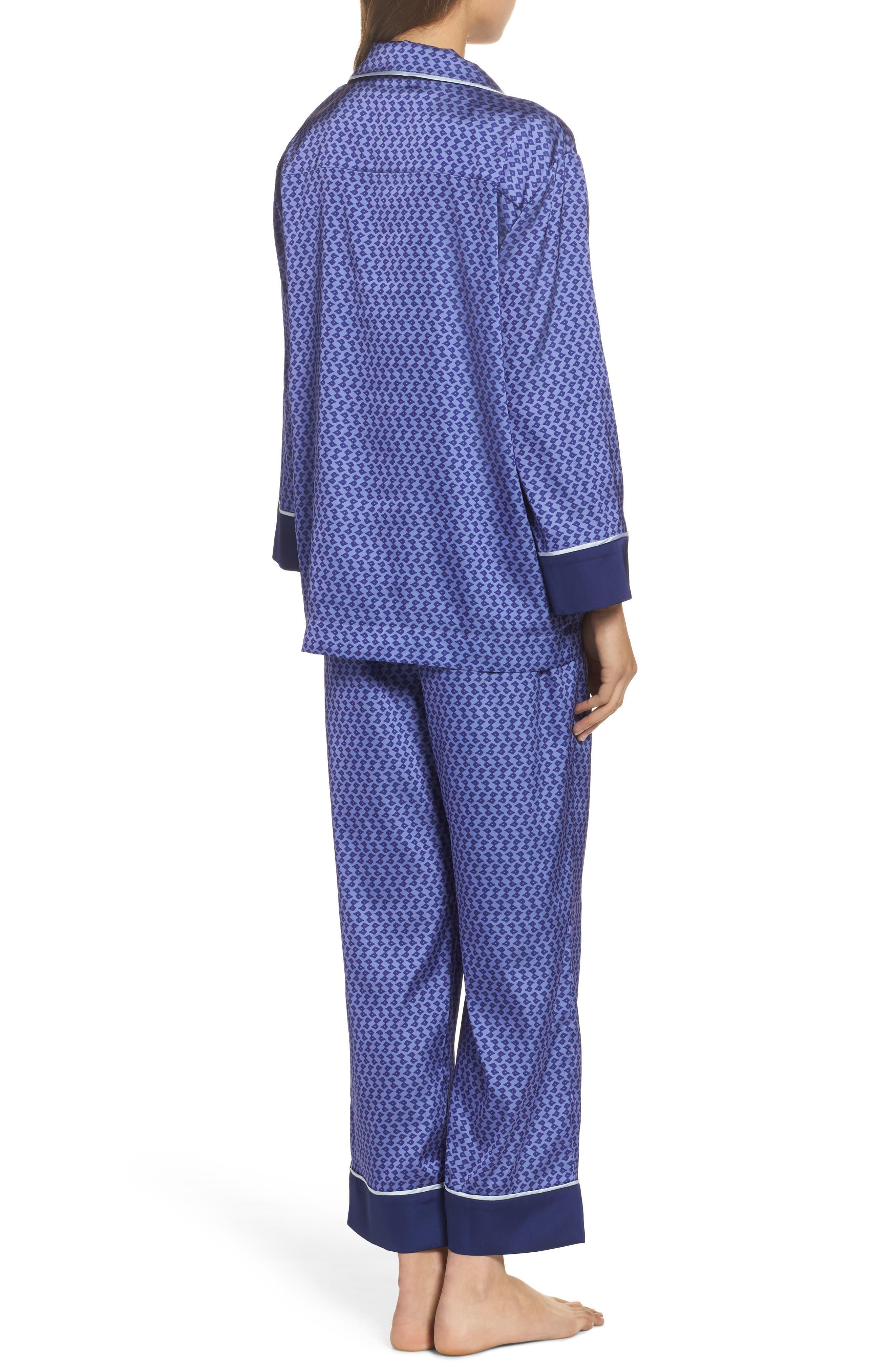 Satin Crop Pajamas,                             Alternate thumbnail 2, color,                             Dark Purple