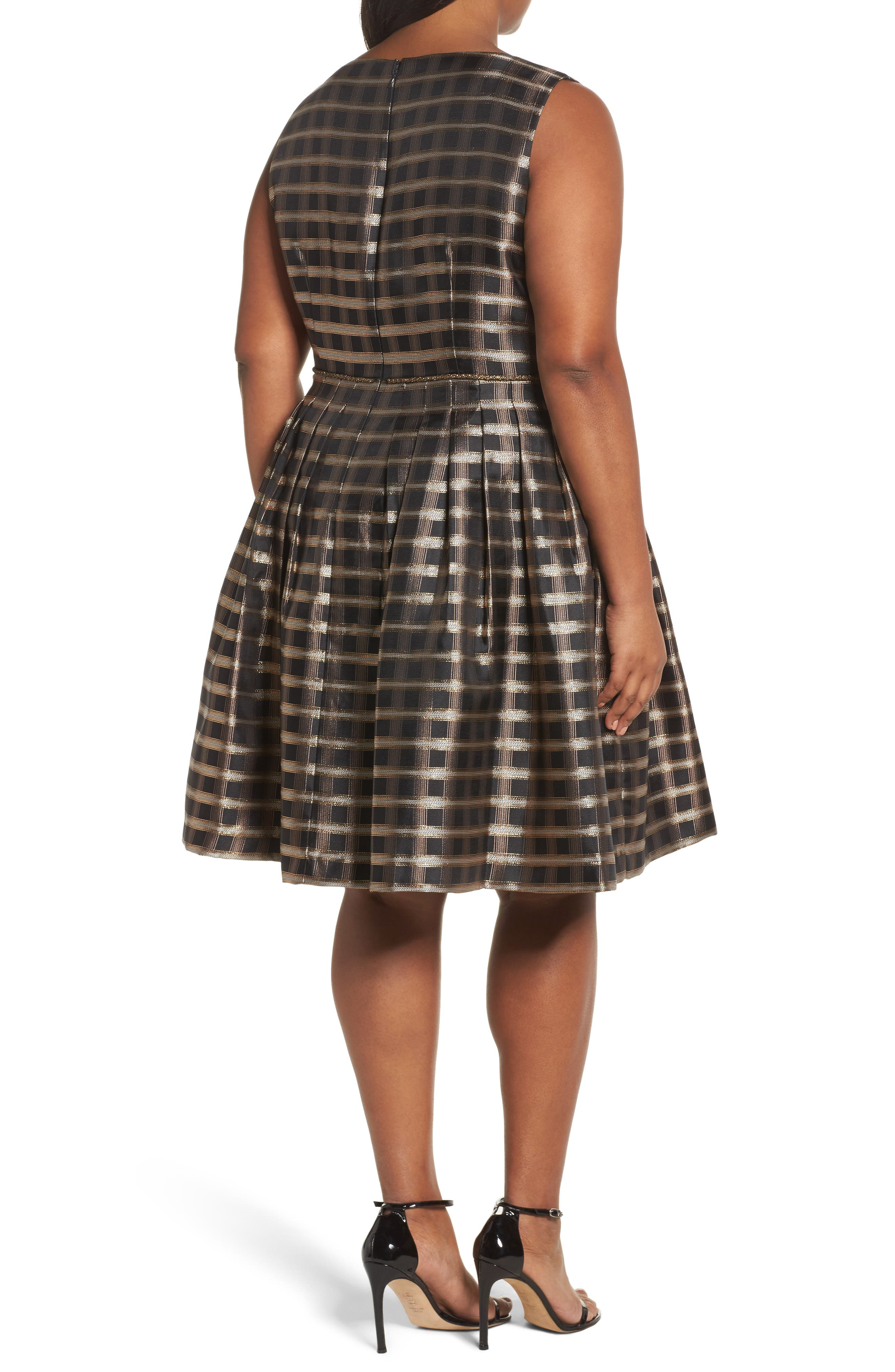 Metallic Jacquard Fit & Flare Dress,                             Alternate thumbnail 2, color,                             Black/ Gold/ Copper