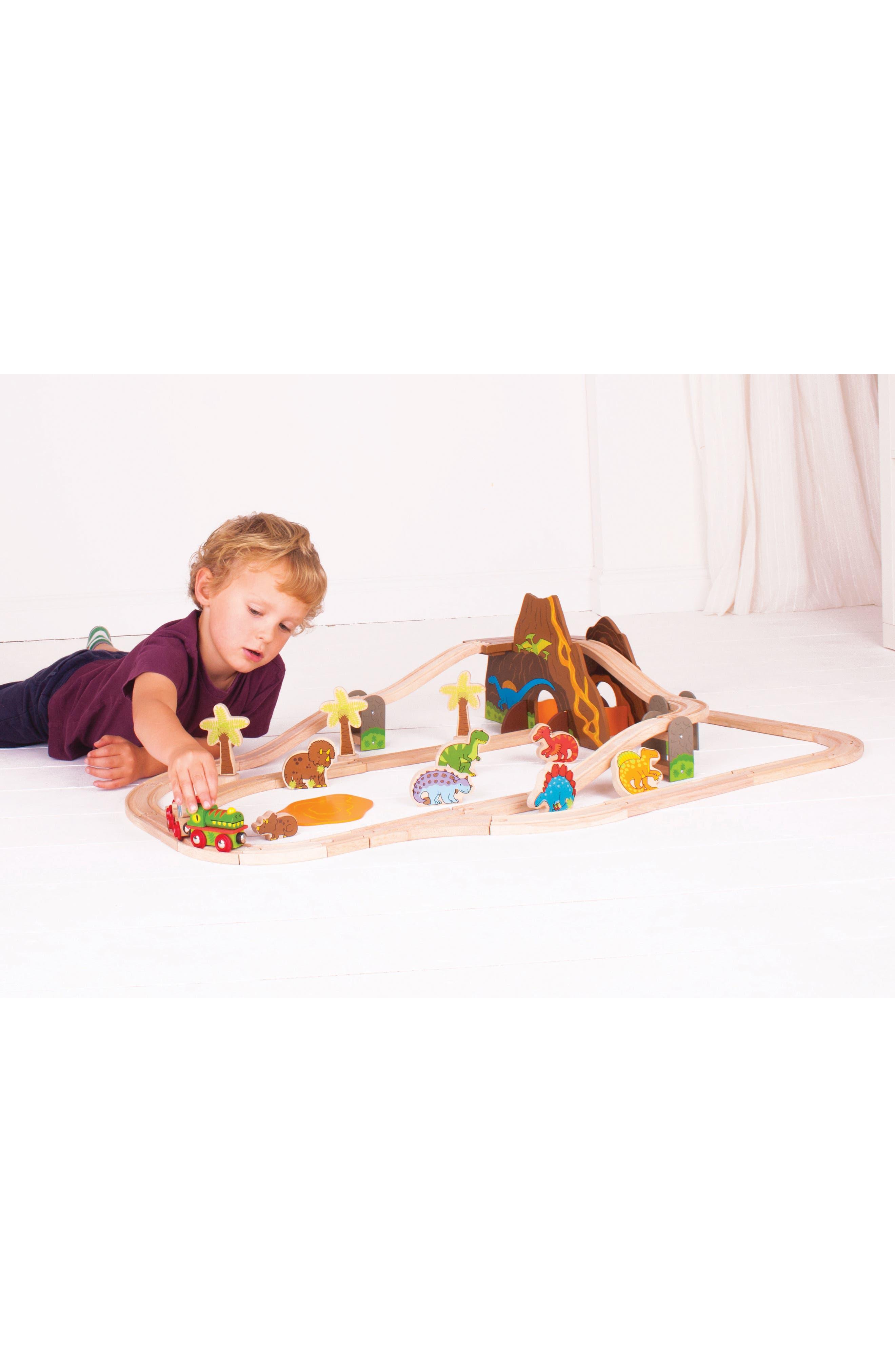 49-Piece Dinosaur Wooden Train Set,                             Alternate thumbnail 2, color,                             Brown