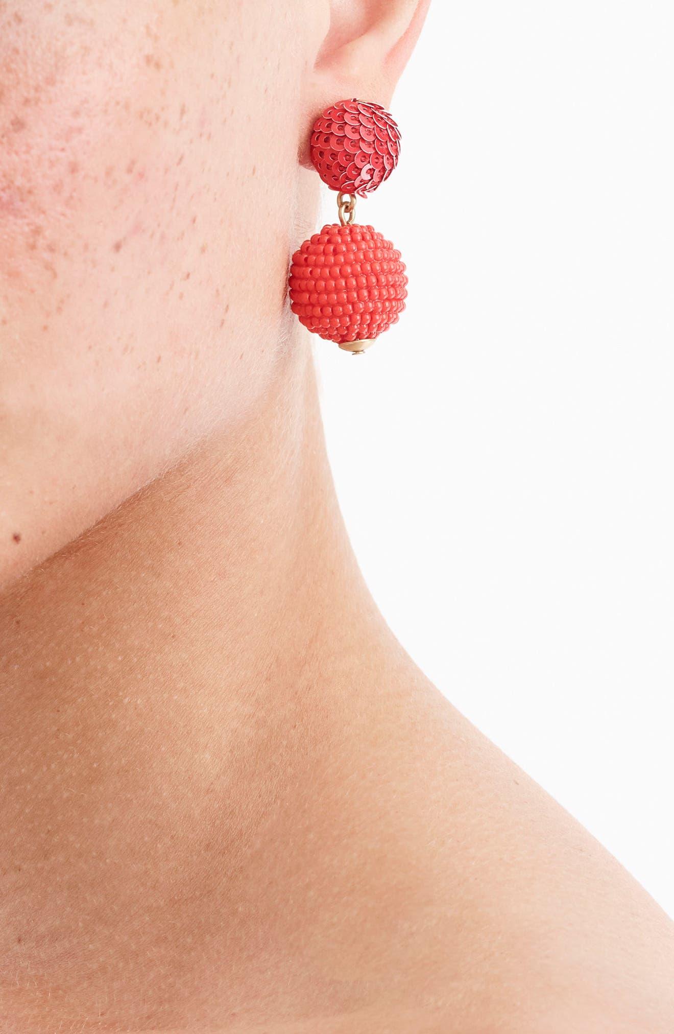 Alternate Image 2  - J.Crew Sequin & Bead Ball-Drop Earrings