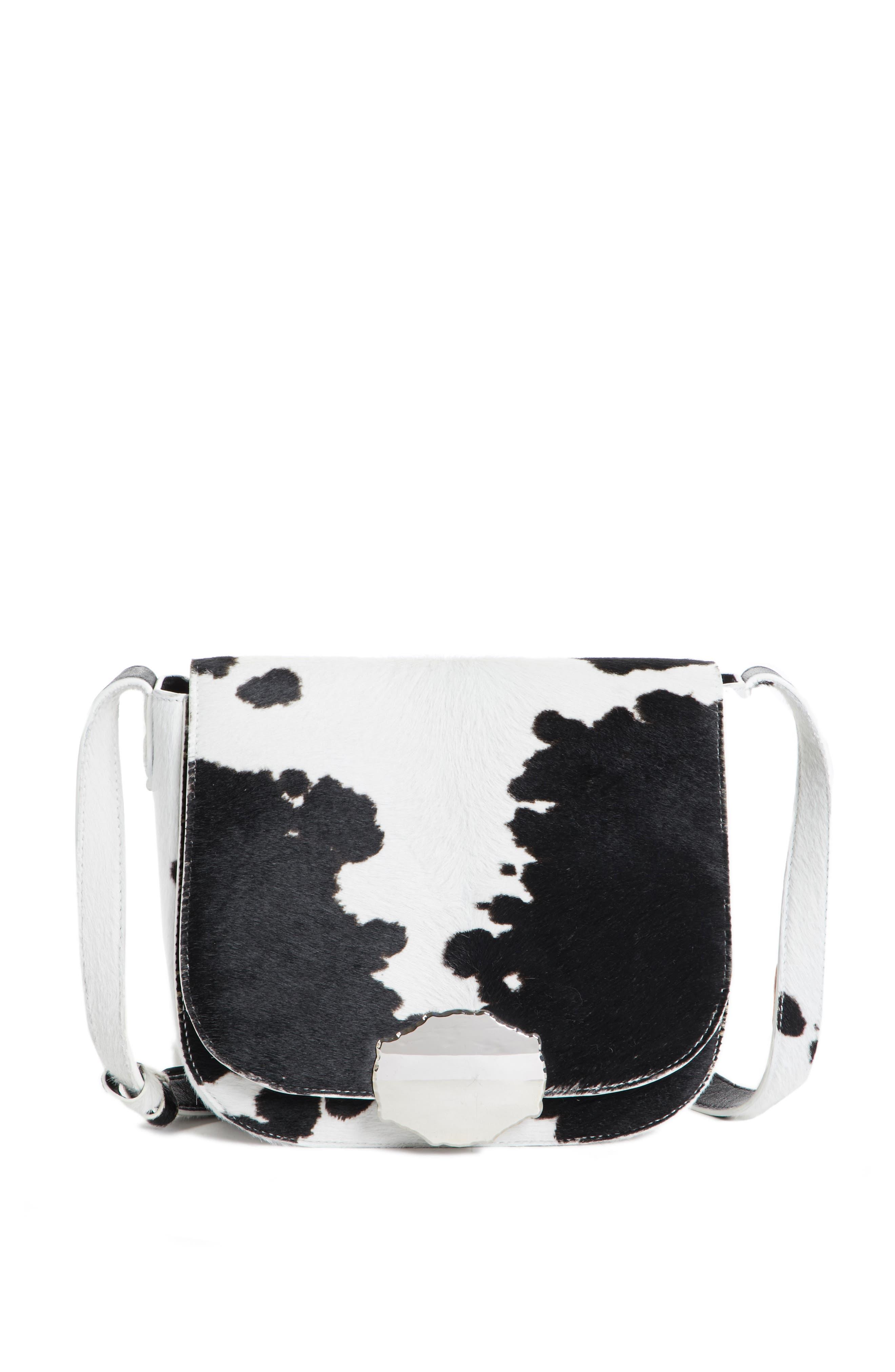Genuine Calf Hair Shoulder Bag,                             Main thumbnail 1, color,                             White/ Black