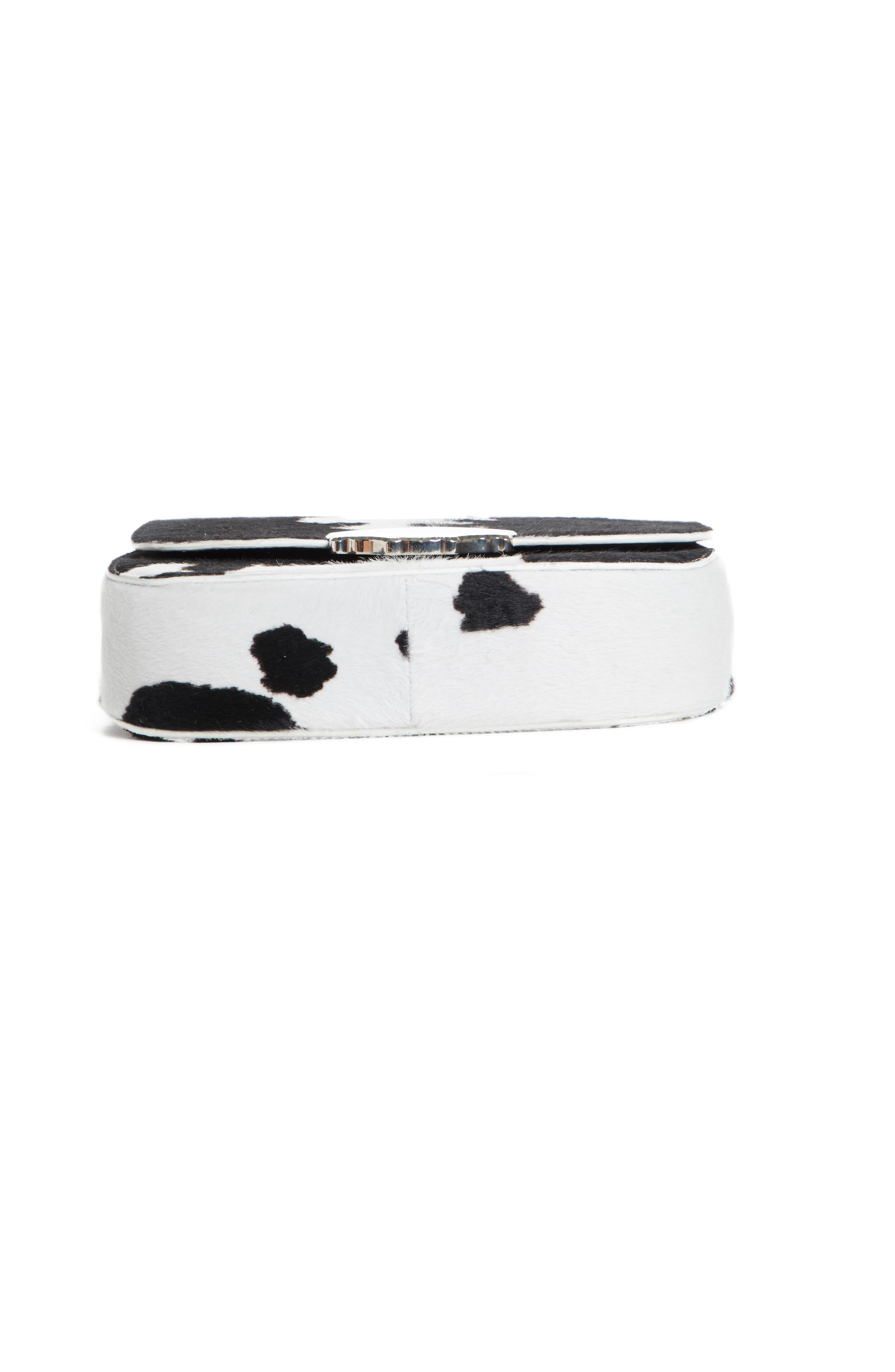 Genuine Calf Hair Shoulder Bag,                             Alternate thumbnail 6, color,                             White/ Black