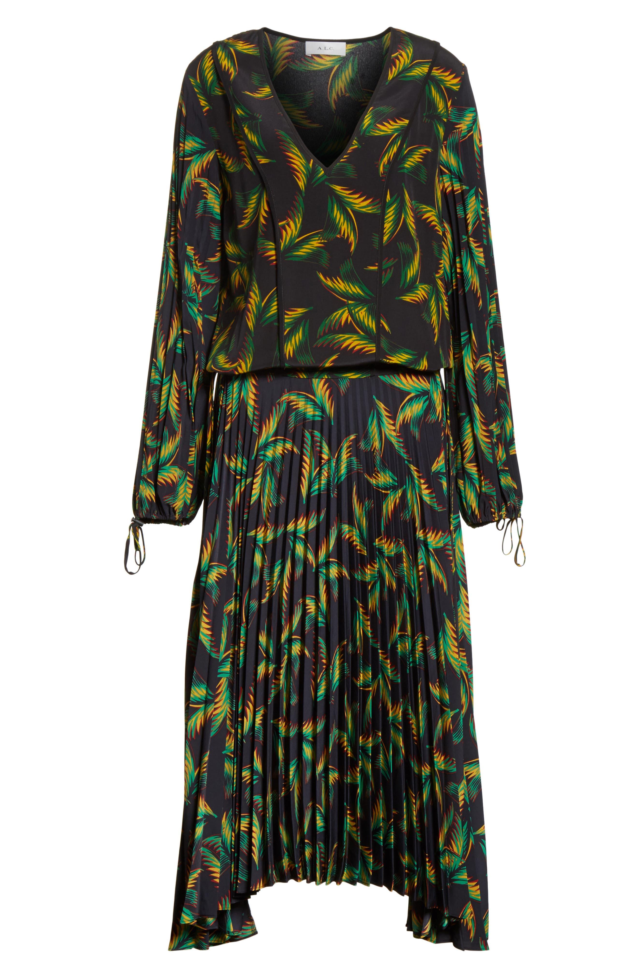 Brooks Pleated Silk Midi Dress,                             Alternate thumbnail 6, color,                             Black