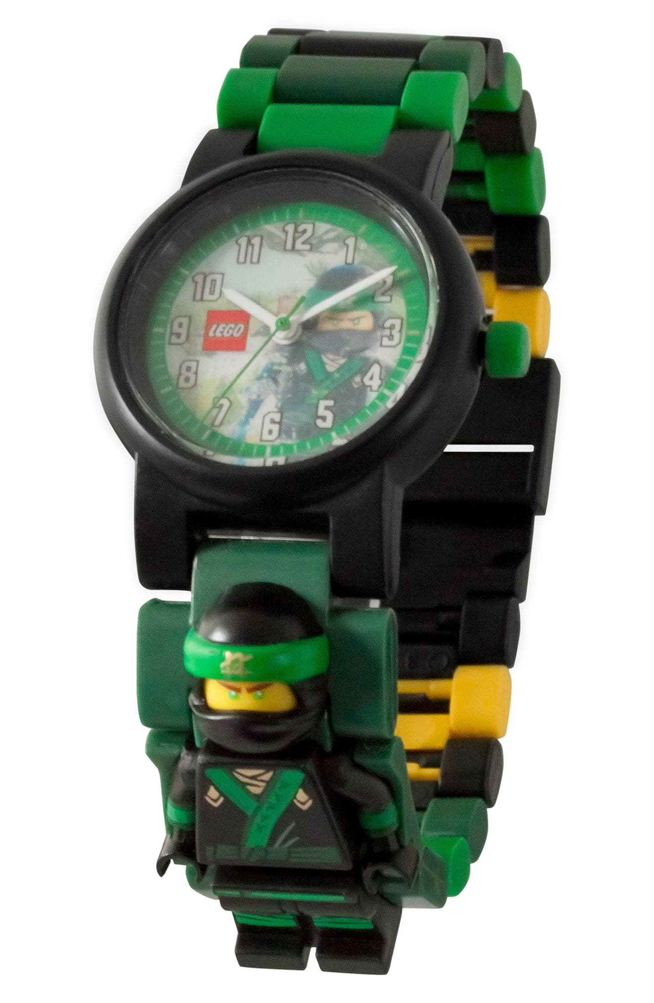 24-Piece Ninjago Lloyd Buildable Water-Resistant Watch,                             Alternate thumbnail 2, color,                             Black