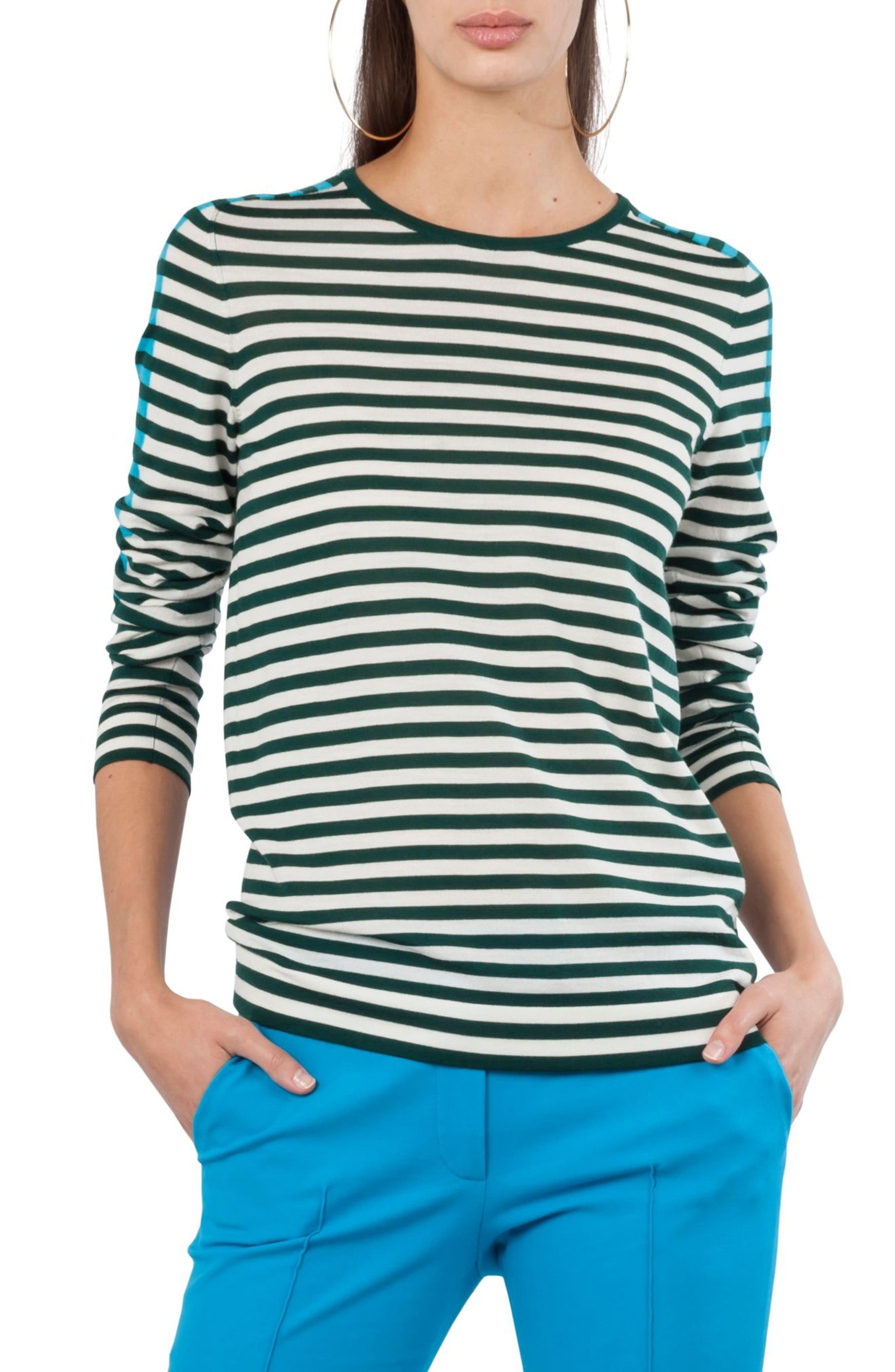Stripe Wool Pullover,                         Main,                         color, Navy / Turquoise