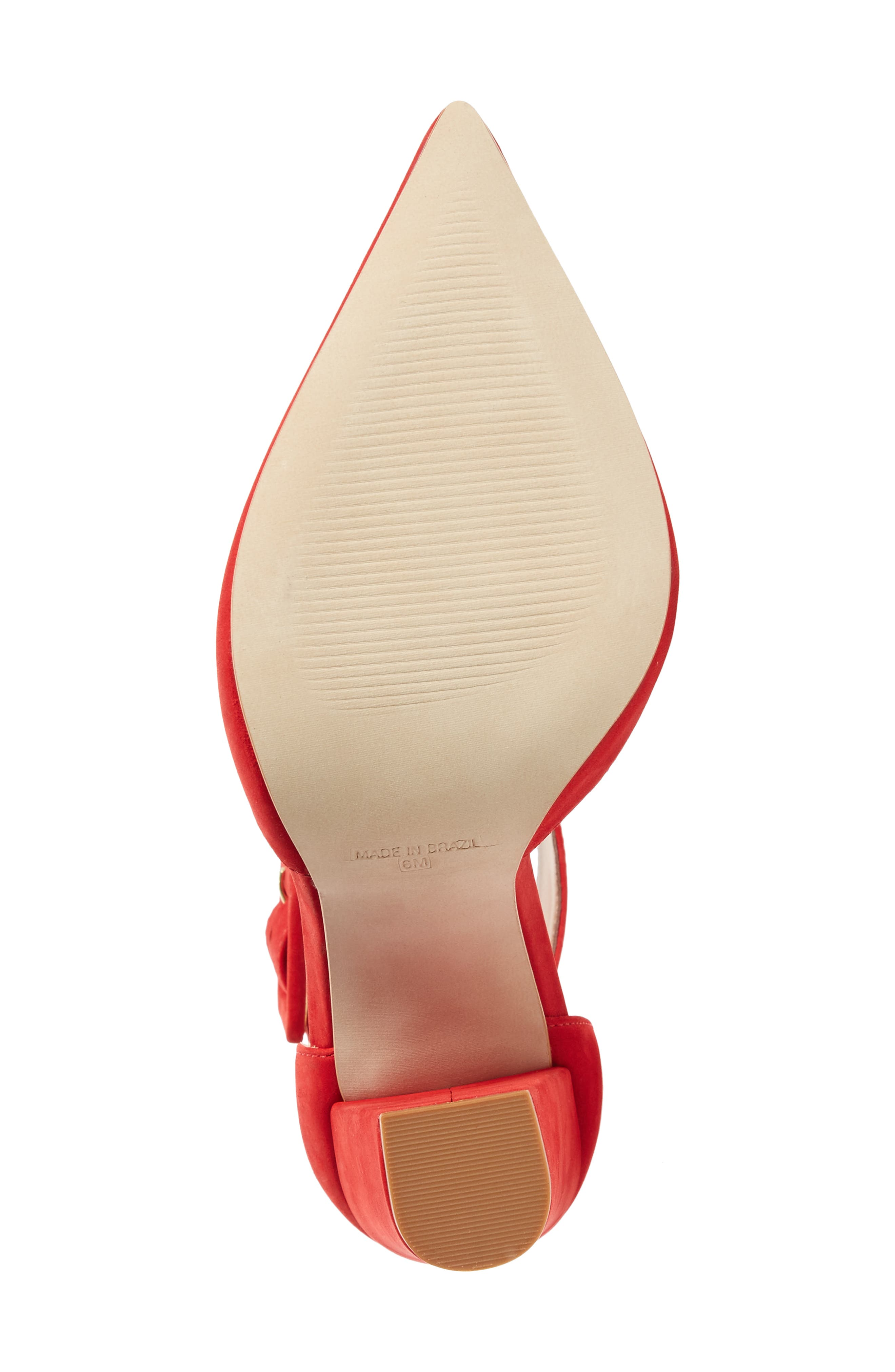 Posted Ankle Strap Pump,                             Alternate thumbnail 6, color,                             Red Nubuck Leather