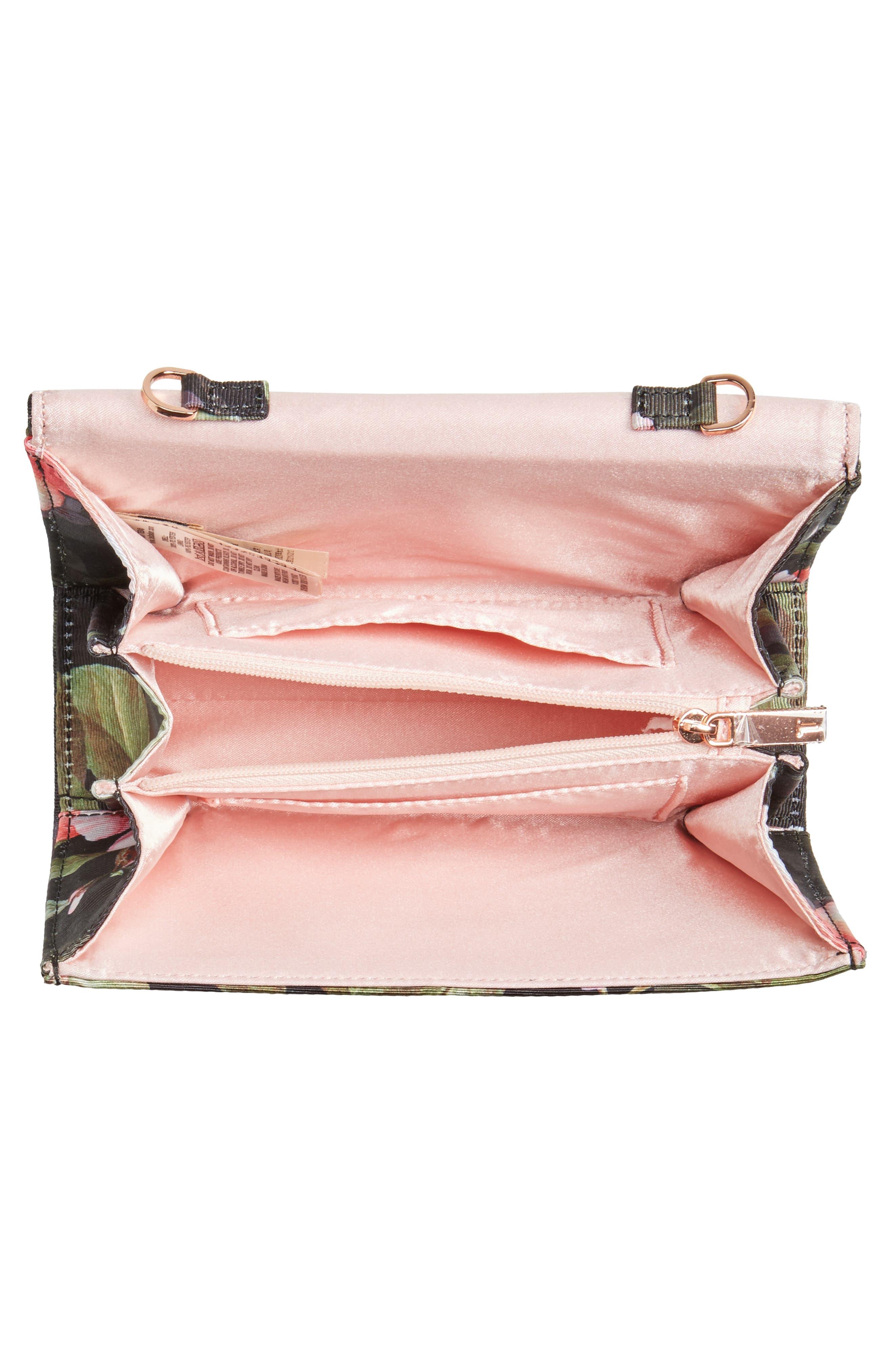 Pauleen Peach Blossom Crossbody Bag,                             Alternate thumbnail 4, color,                             Black