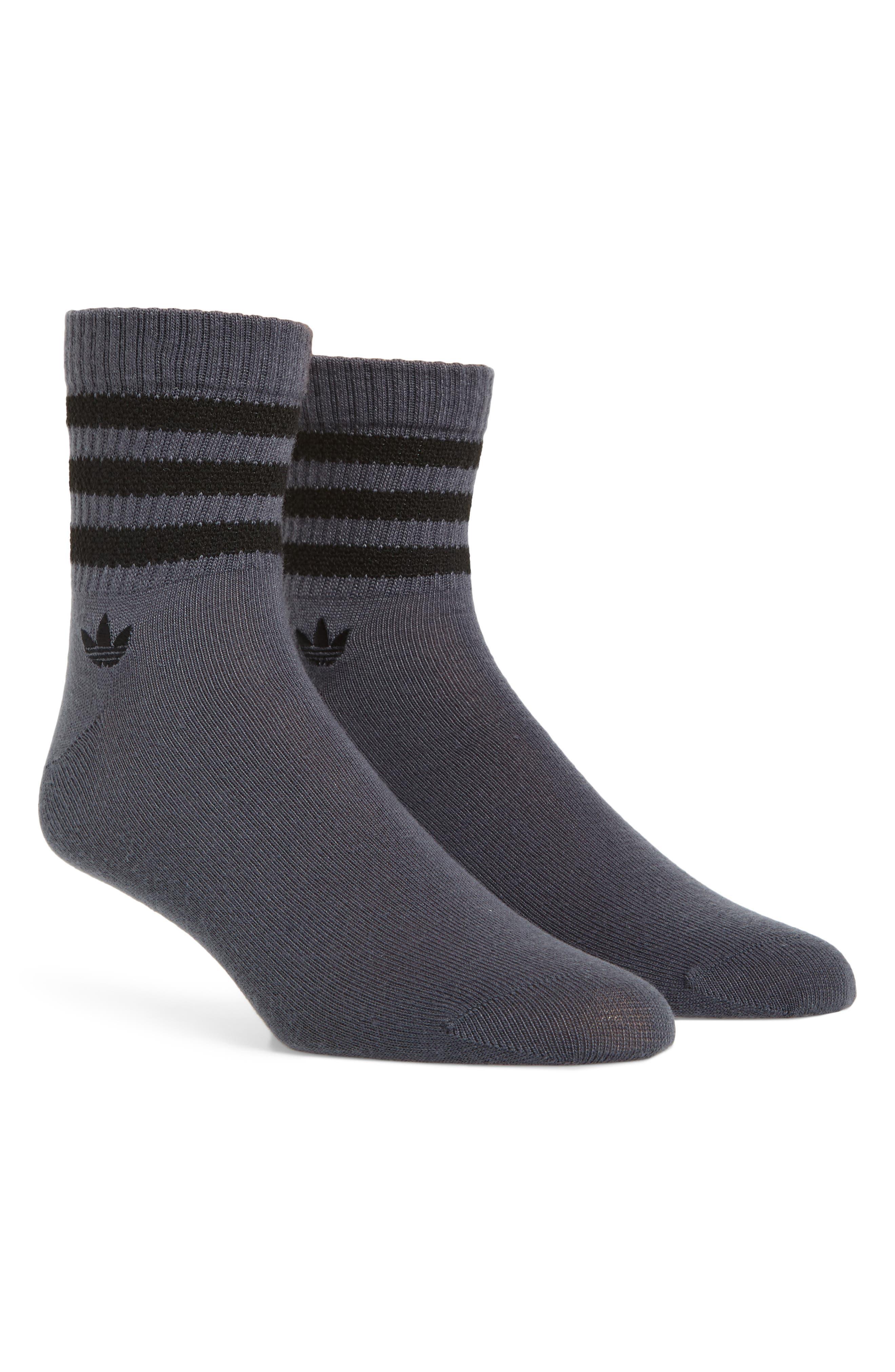 Textured 3-Stripes Crew Socks,                             Main thumbnail 1, color,                             Onyx/ Black