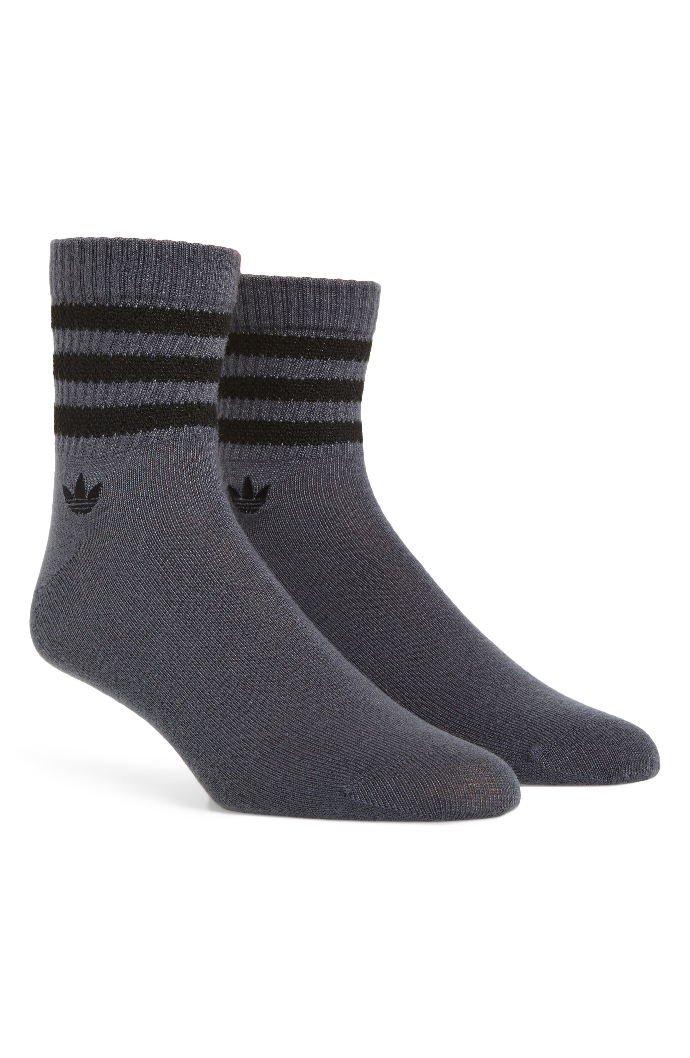 Textured 3-Stripes Crew Socks,                         Main,                         color, Onyx/ Black