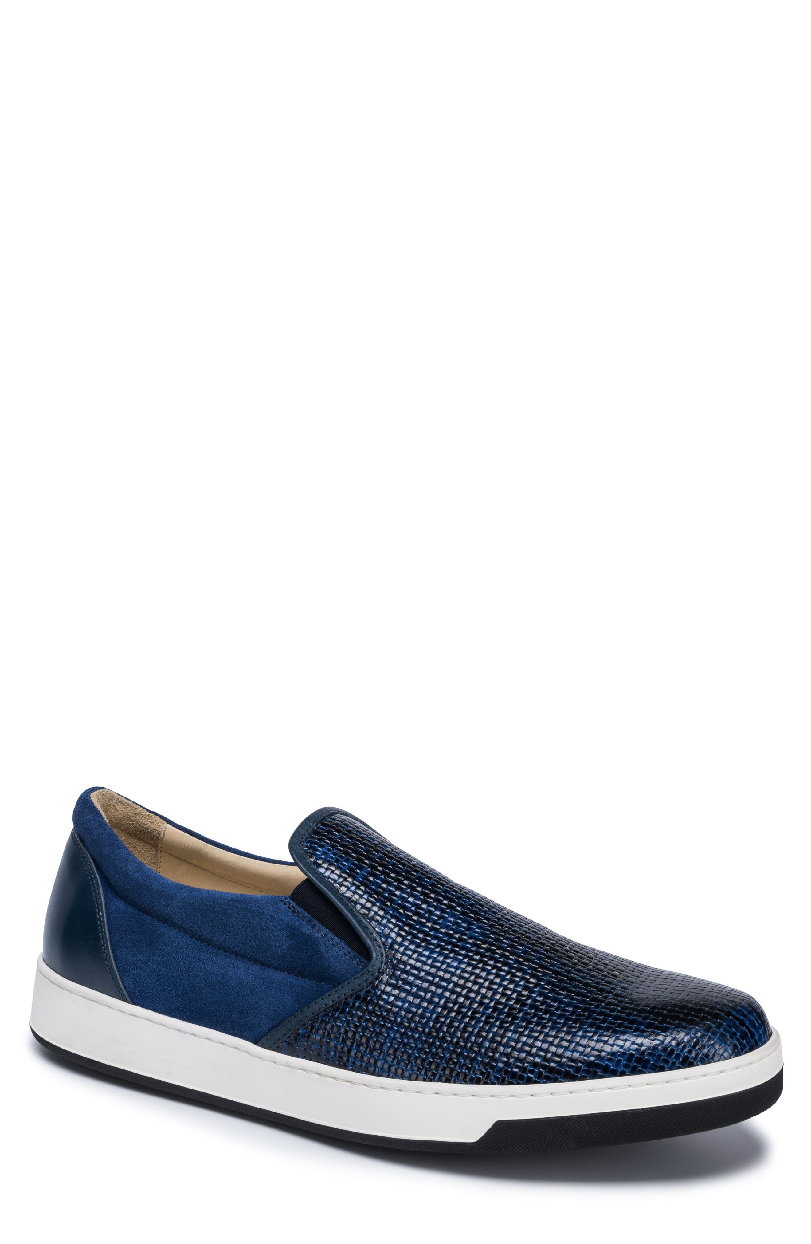 Cinque Terre Woven Slip-On Sneaker,                             Main thumbnail 1, color,                             Blue Leather/ Suede