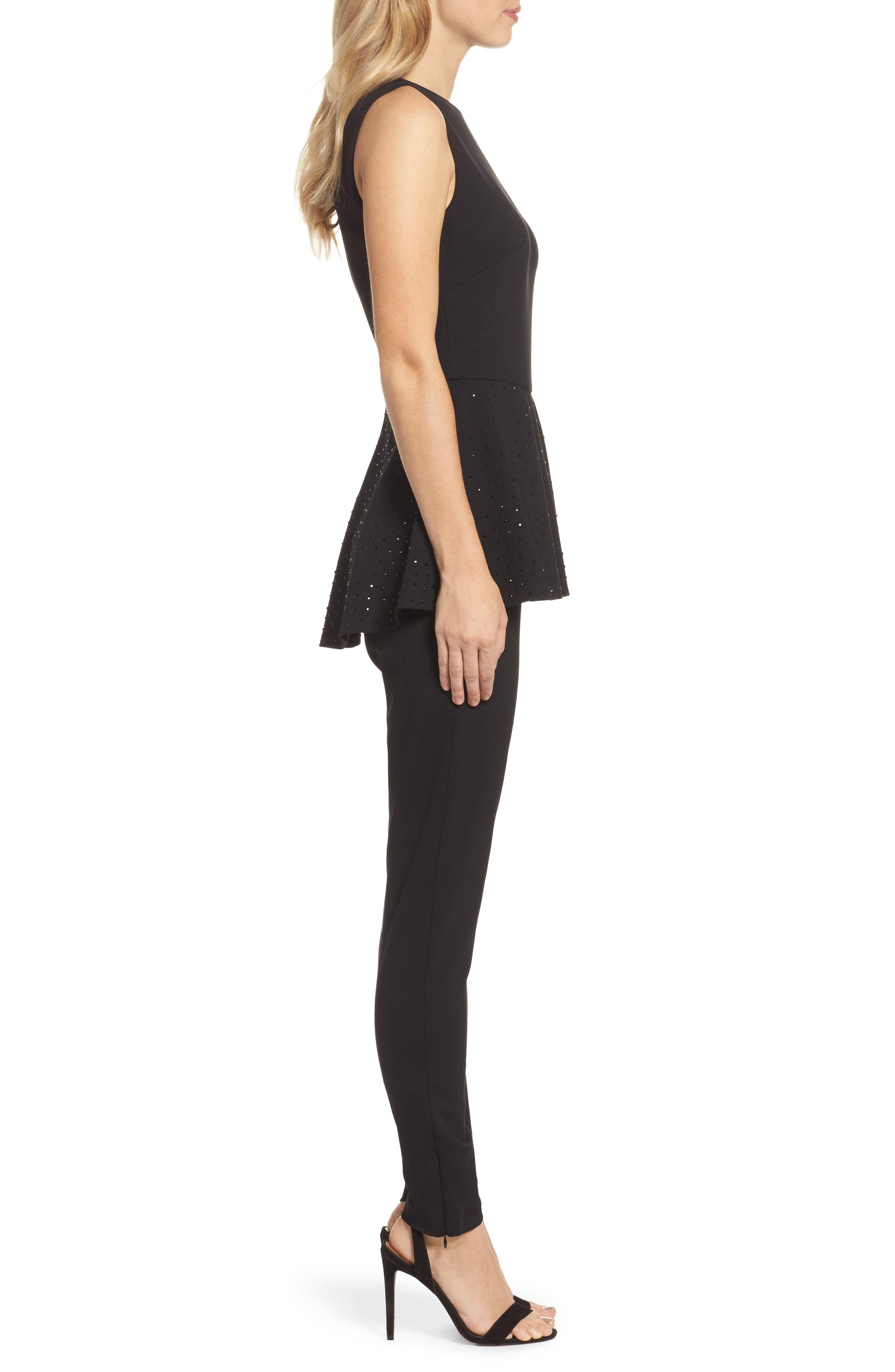 Alternate Image 3  - Eliza J Peplum Jumpsuit (Regular & Petite)