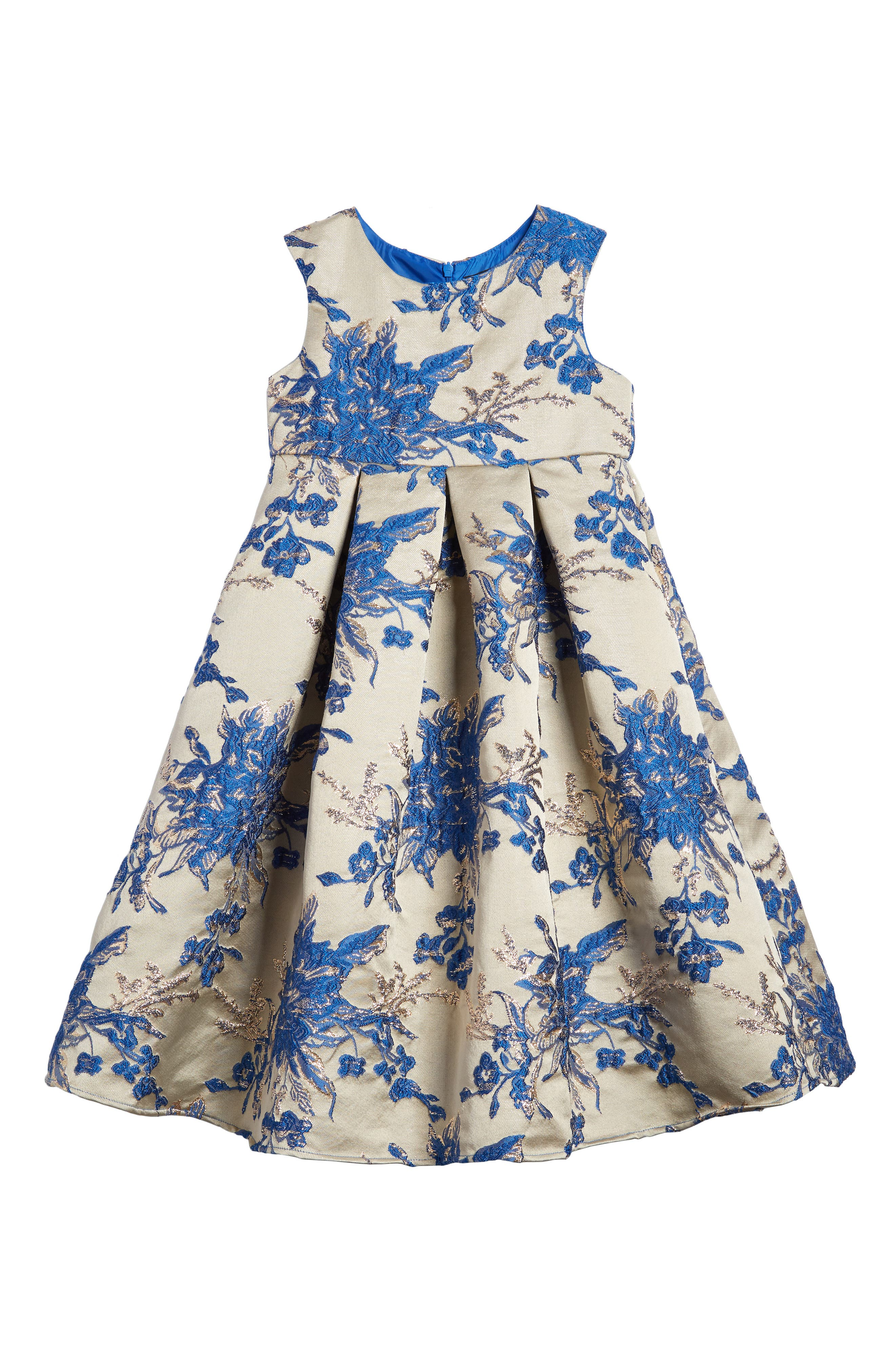 Floral Embroidered Babydoll Dress,                             Main thumbnail 1, color,                             Gold/ Blue