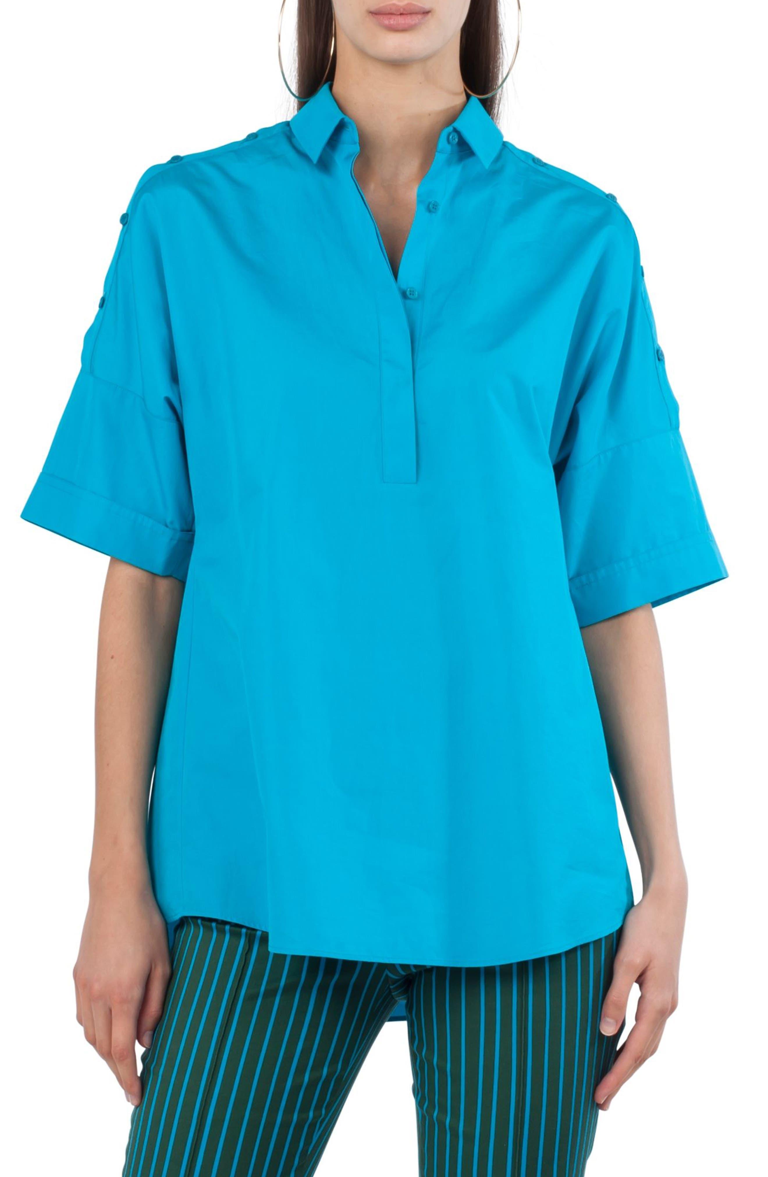Button Shoulder Kimono Blouse,                         Main,                         color, Turquoise