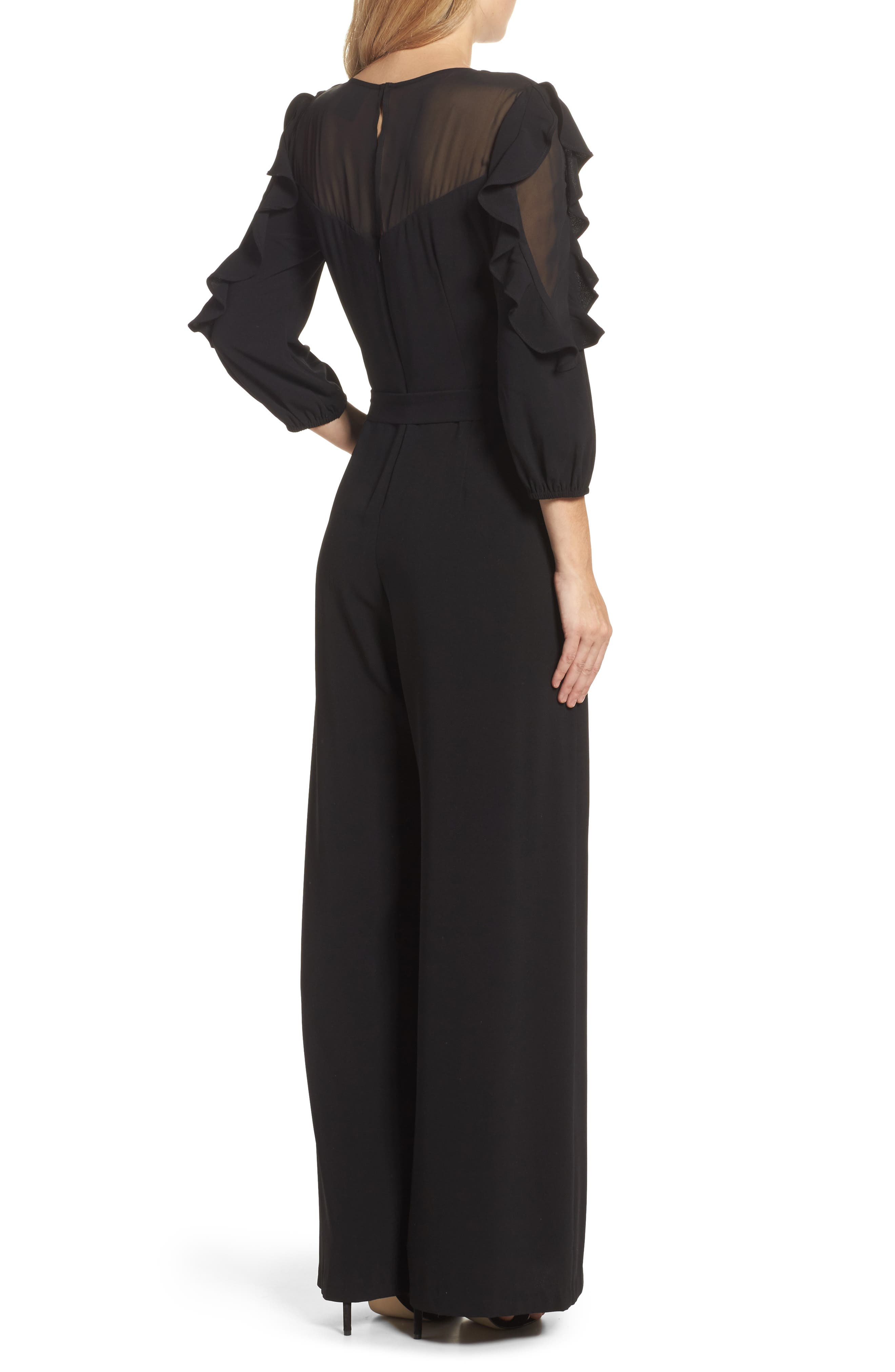 Tiered Sleeve Jumpsuit,                             Alternate thumbnail 2, color,                             Black