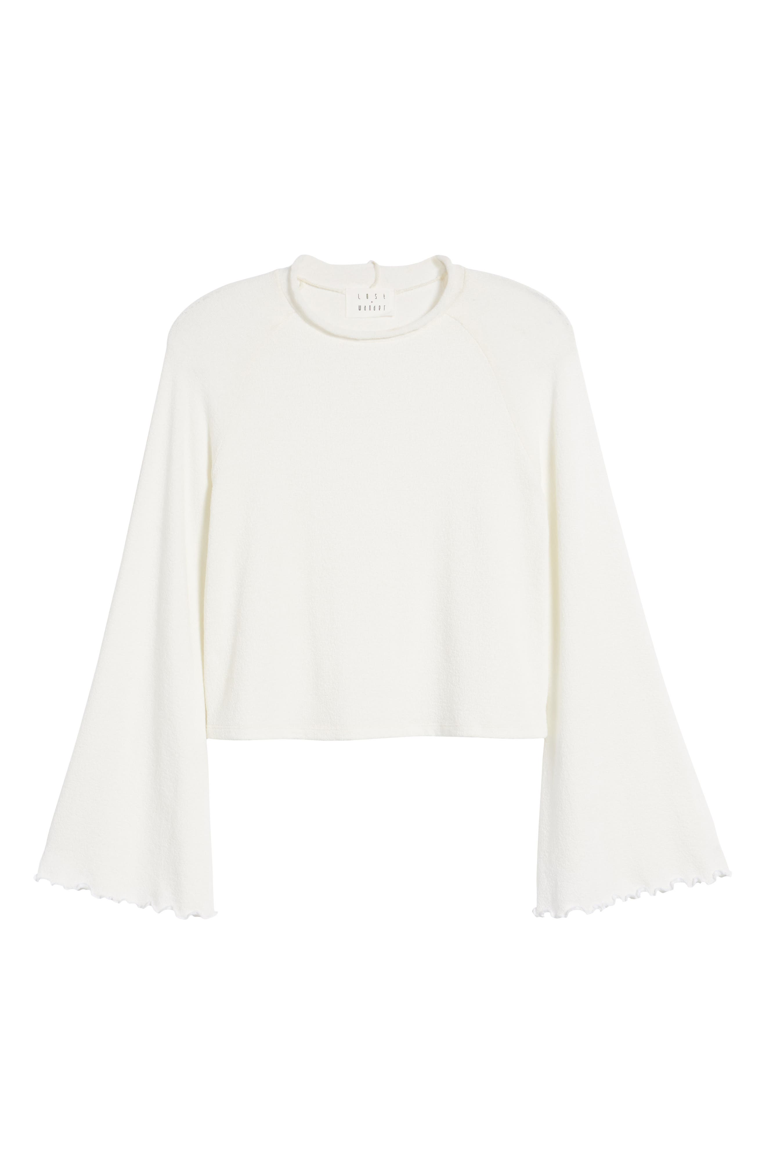 Knit Bell Sleeve Top,                             Alternate thumbnail 6, color,                             White