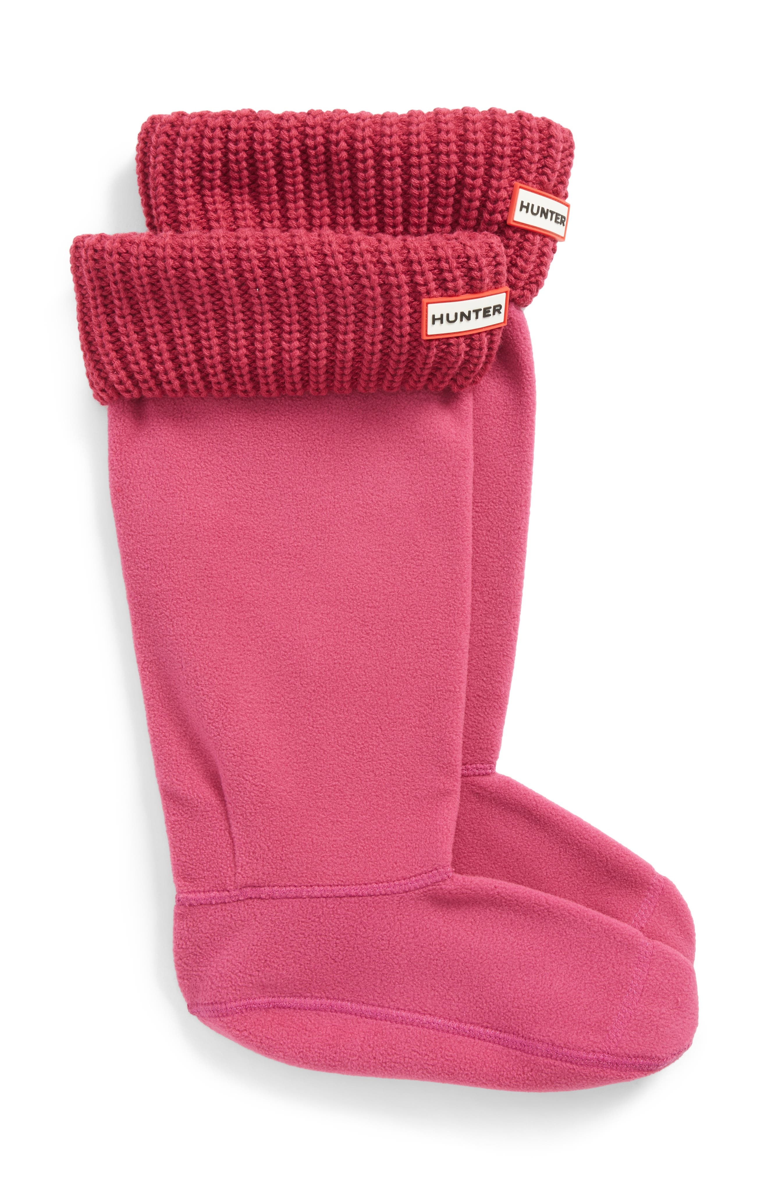 Tall Cardigan Knit Cuff Welly Boot Socks,                             Main thumbnail 1, color,                             Dark Ion Pink