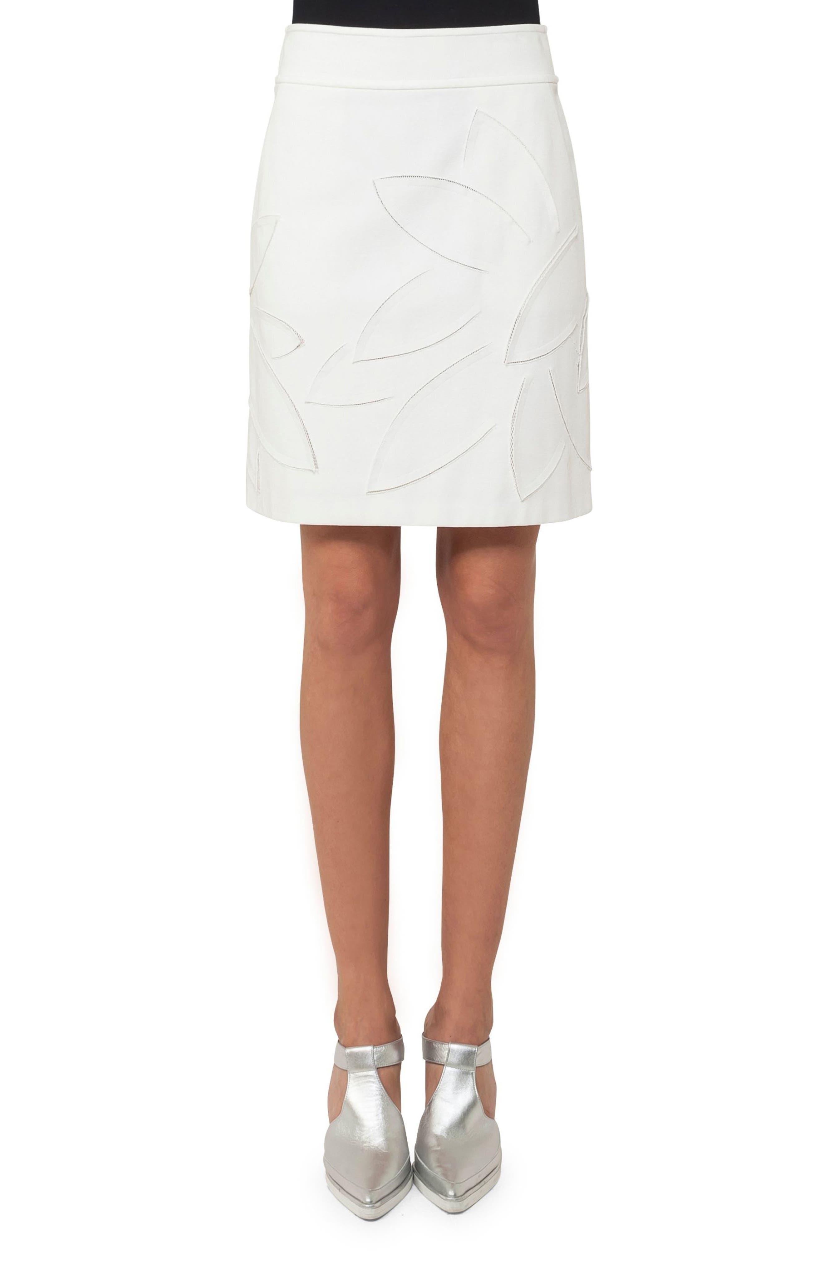 Lasercut Leaf Pattern Jersey Skirt,                             Main thumbnail 1, color,                             Cream